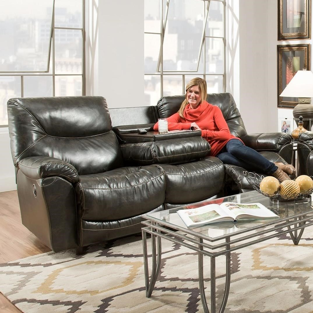 Franklin Calloway Reclining Sofa With Drop Down Table Olinde 39 S Furniture Reclining Sofas