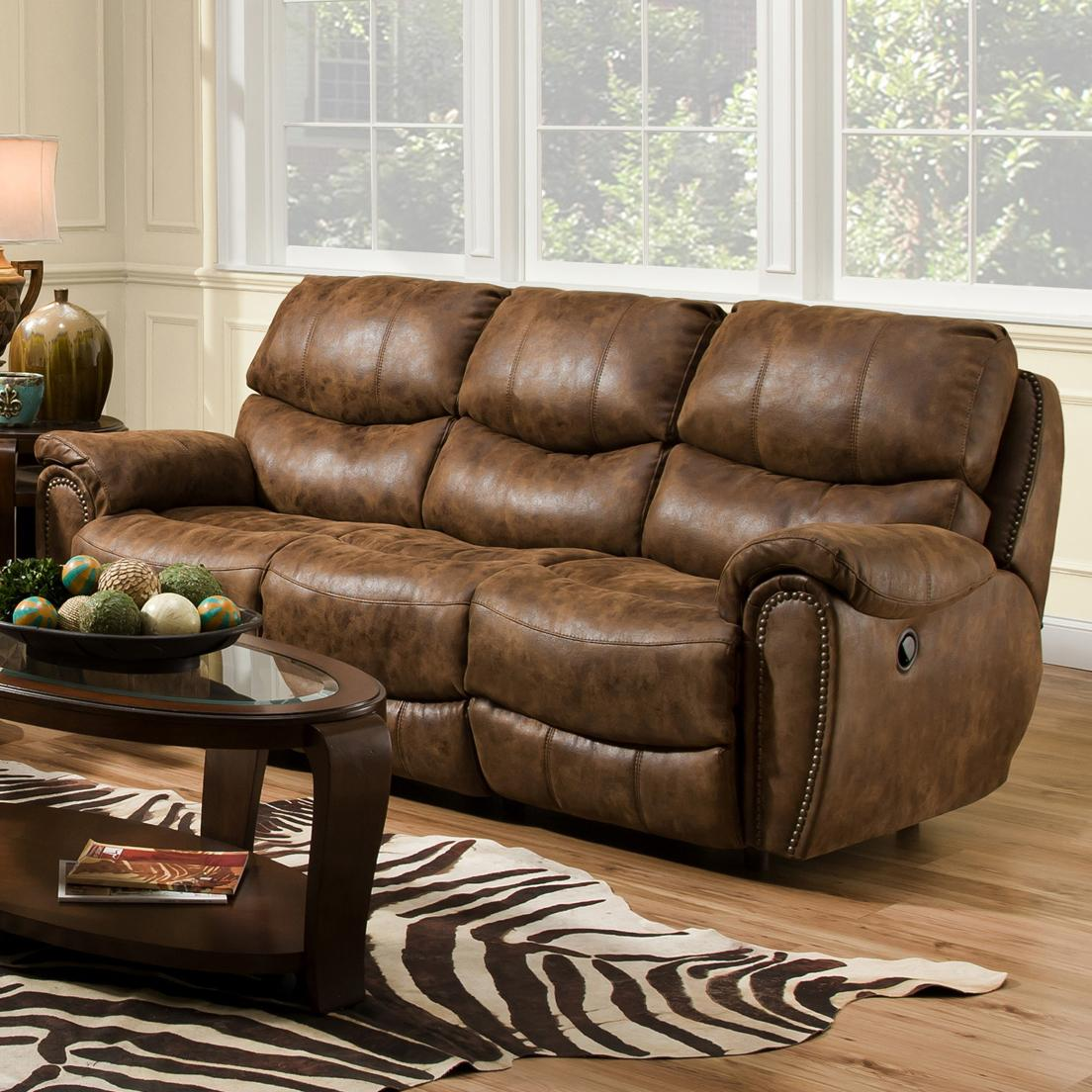 Franklin Richmond Reclining Sofa With Nail Head Trim Olinde 39 S Furniture Reclining Sofas