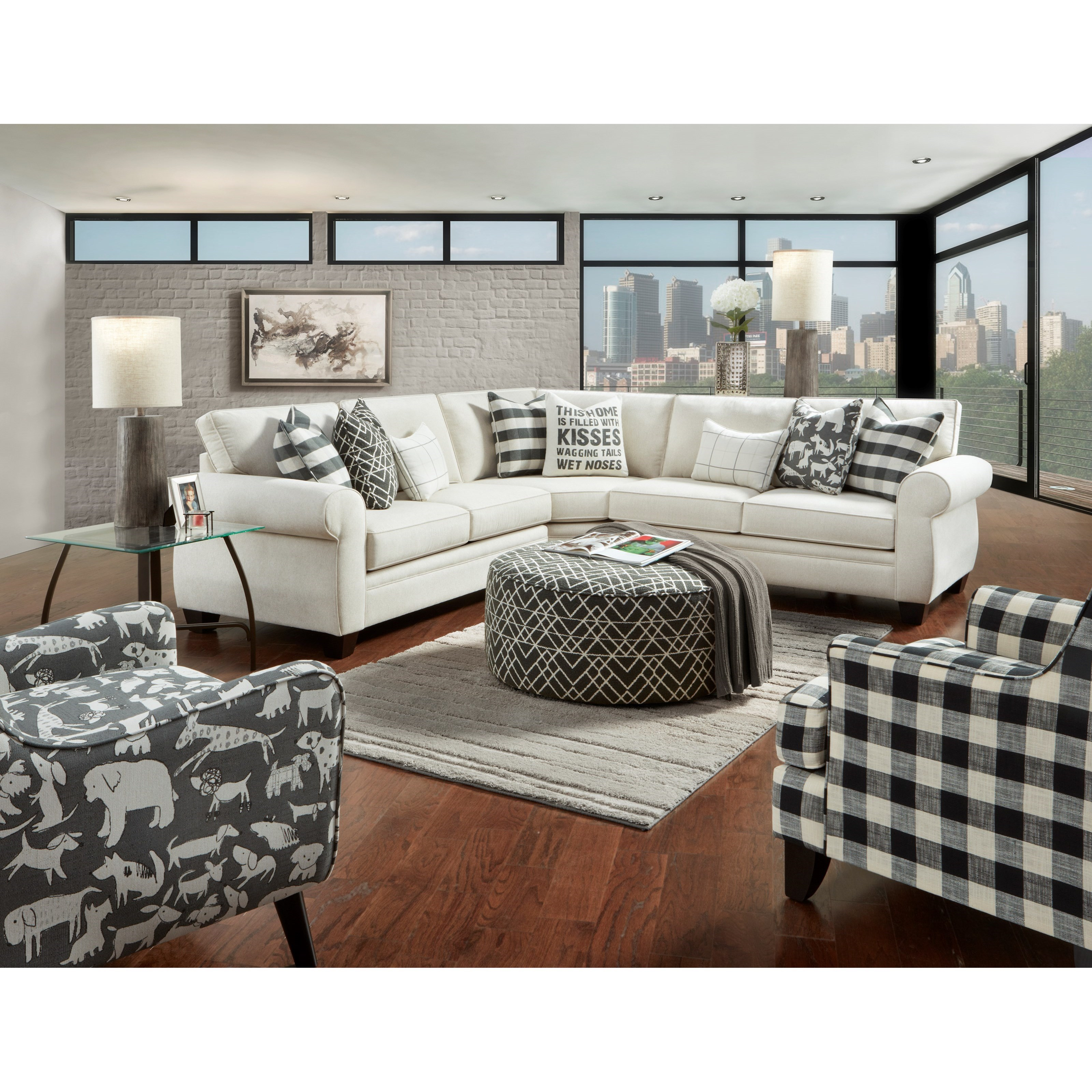 1170 POPSTITCH SHELL (LIVESMART) Stationary Living Room Group by Fusion Furniture at Wilson's Furniture