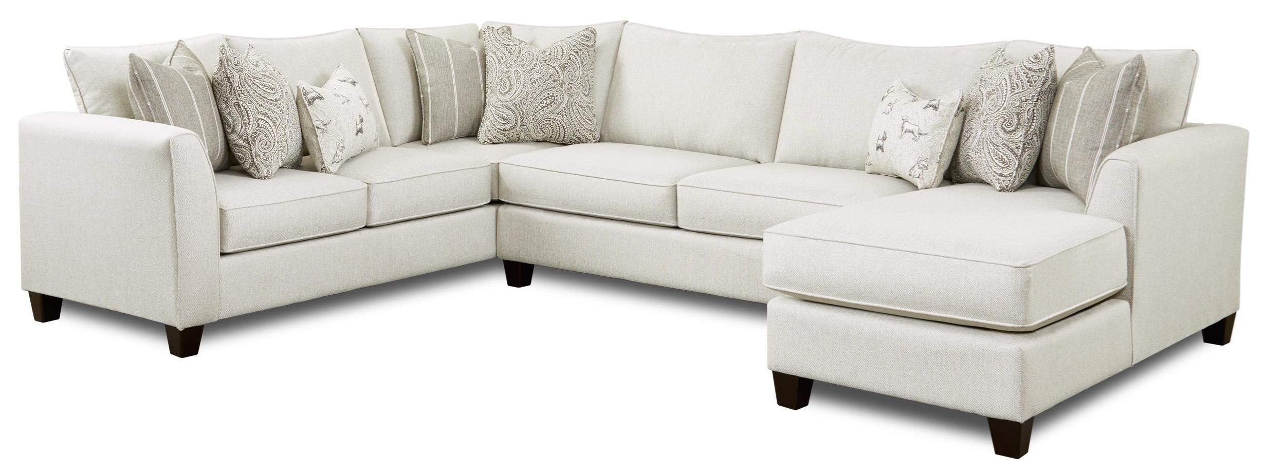 28 HOMECOMING STONE (REVOLUTION) 3-Piece Sectional with Chaise by Fusion Furniture at Darvin Furniture