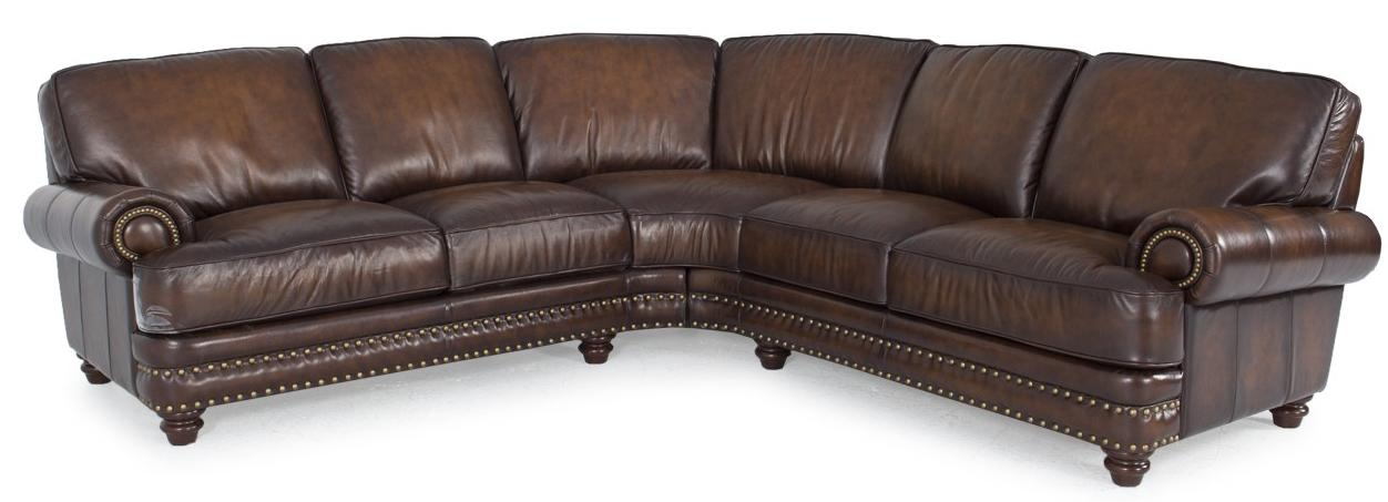 Futura leather westbury leather traditional dark brown for Traditional leather sectional sofa