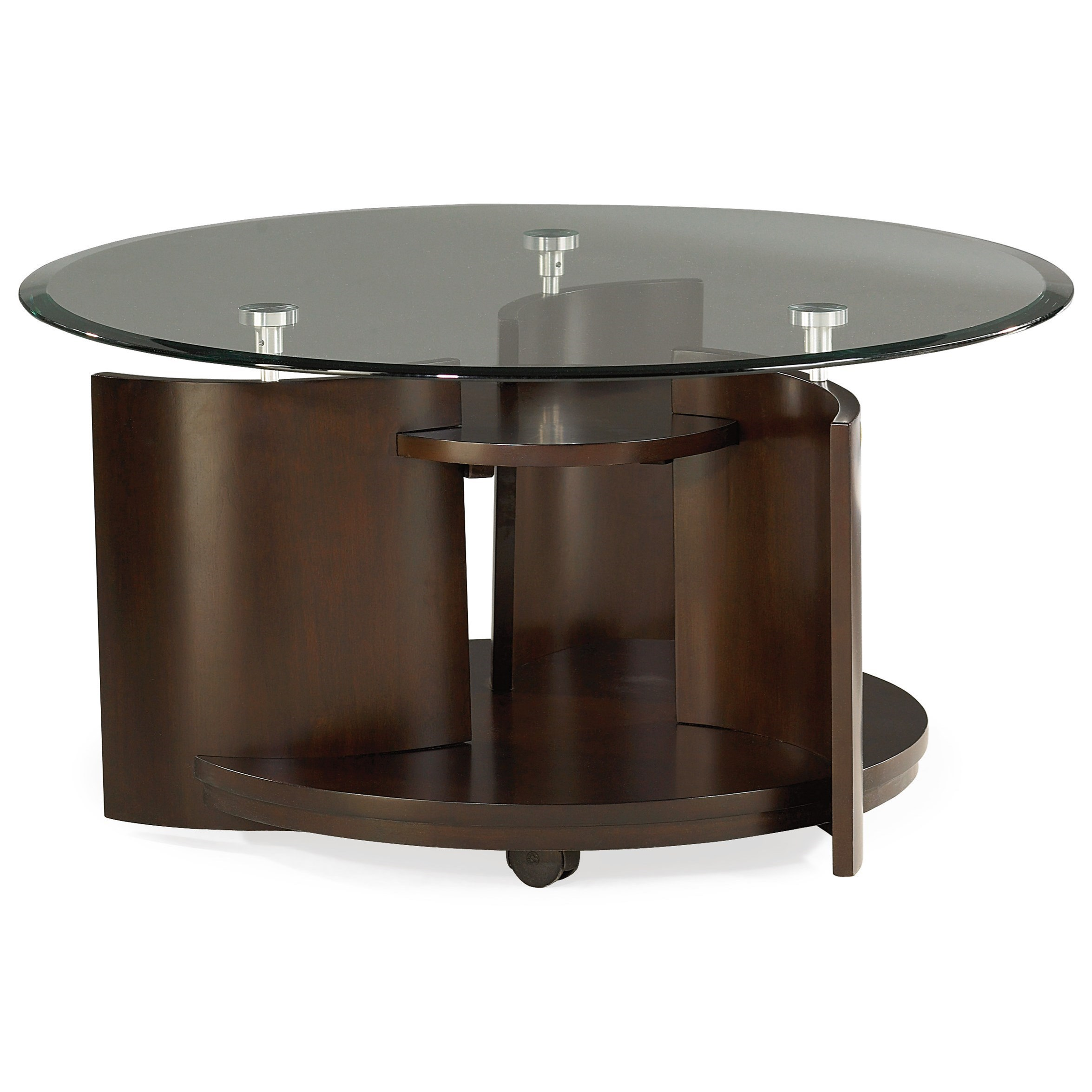 Apex glass top round cocktail table morris home end tables for Morris home