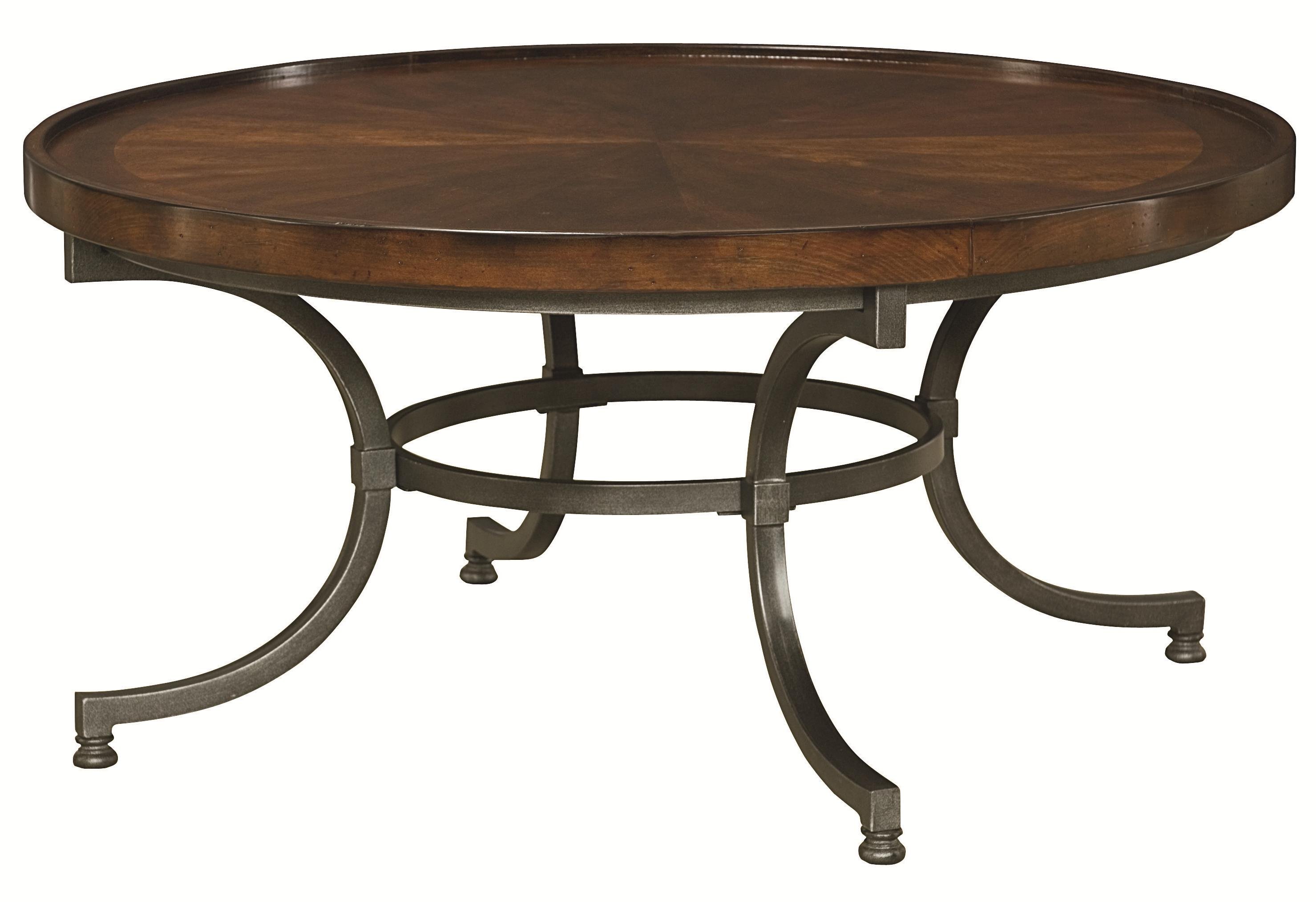 hammary barrow round cocktail table with metal legs. Black Bedroom Furniture Sets. Home Design Ideas