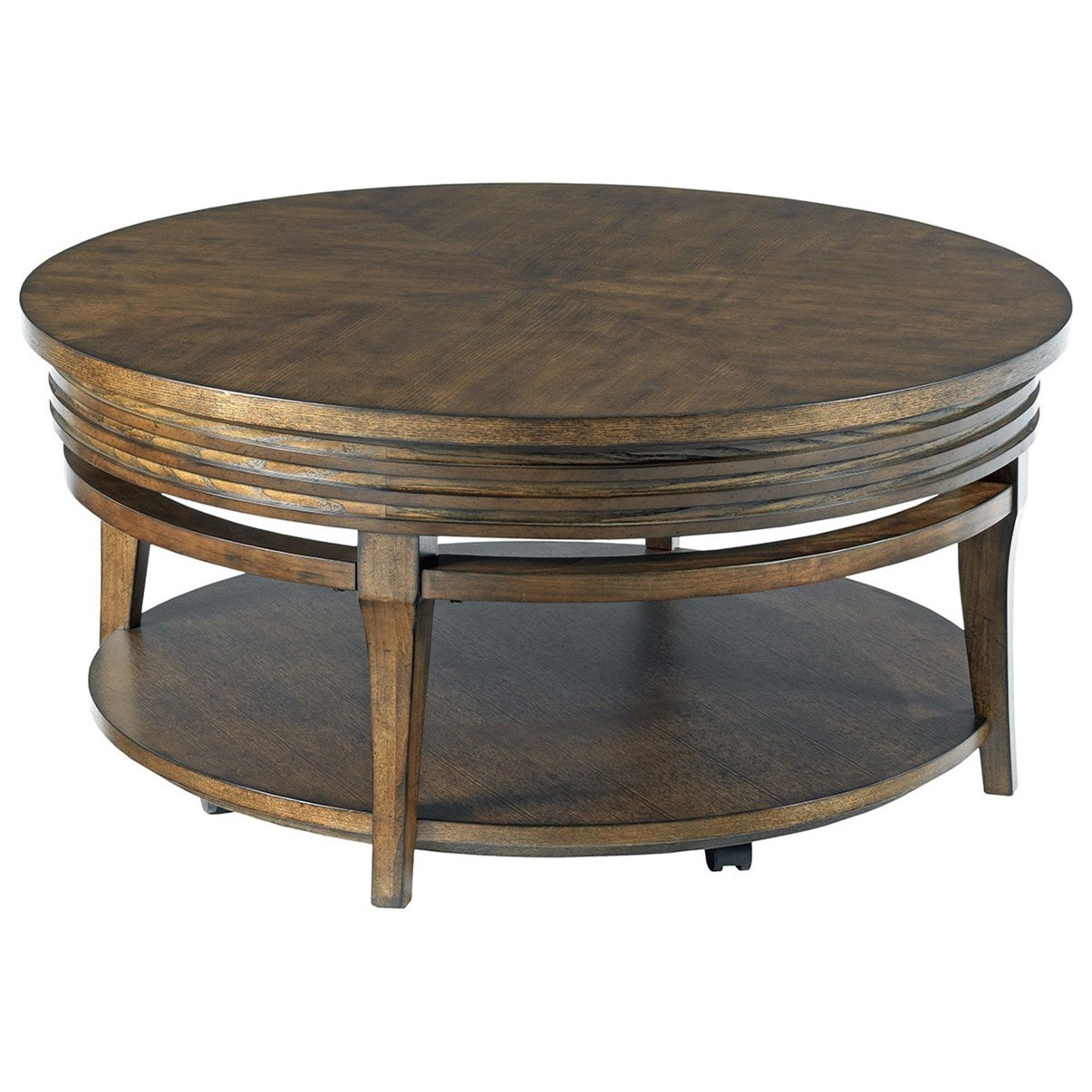 Hammary groovy round cocktail table with casters mueller for Cocktail table accessories