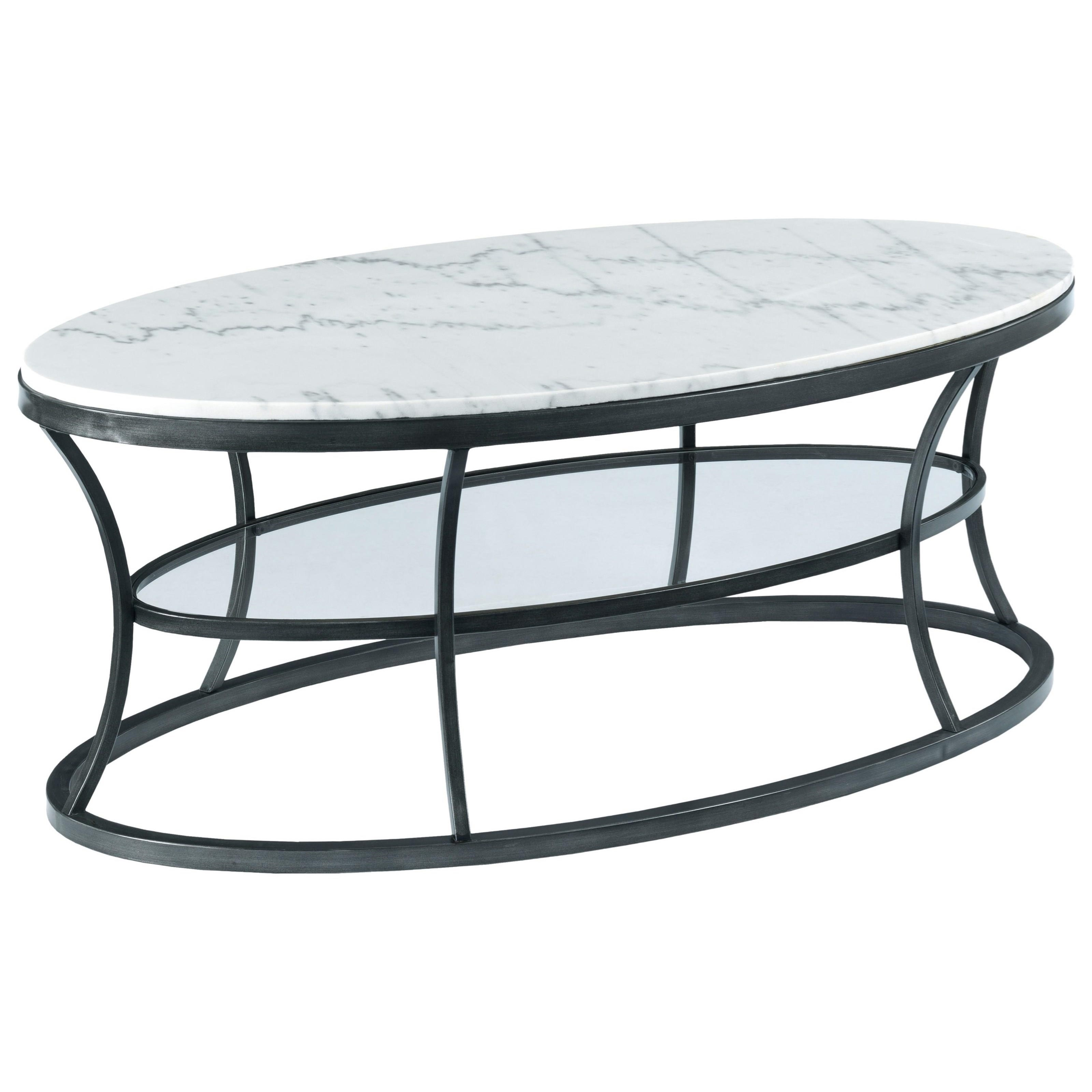 hammary impact oval cocktail table with marble top and. Black Bedroom Furniture Sets. Home Design Ideas
