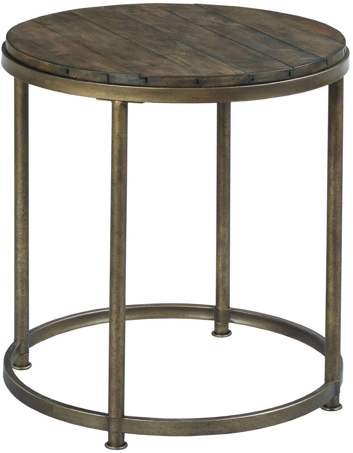 Hammary leone round end table with antique brass base for Round end tables