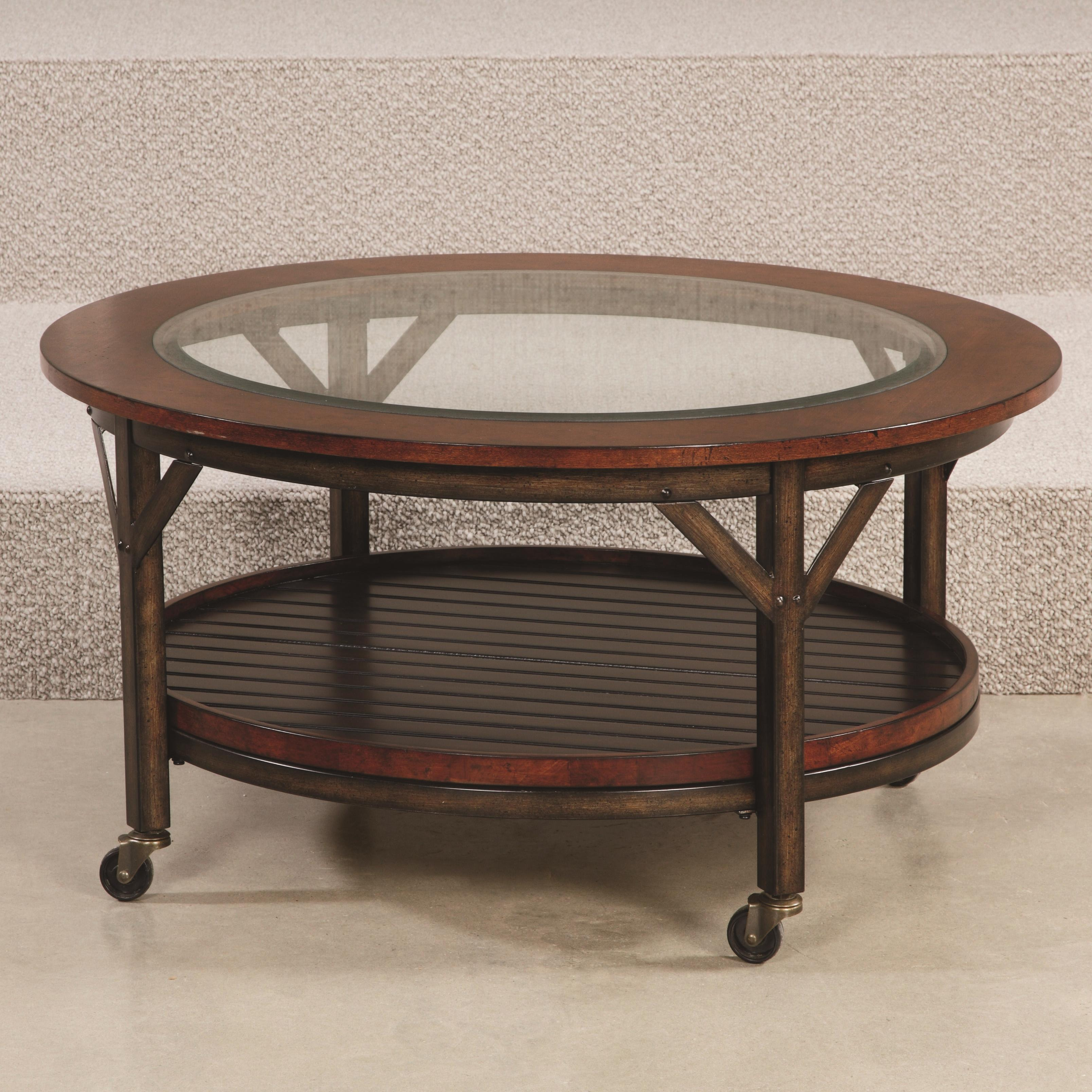hammary mercantile round cocktail table with 1 fixed shelf. Black Bedroom Furniture Sets. Home Design Ideas