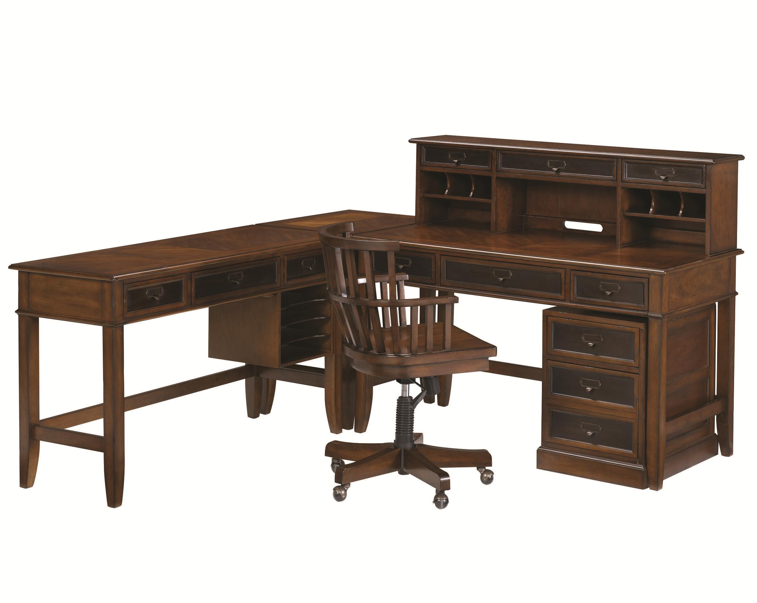 Mercantile L Shaped Desk and Credenza by Hammary