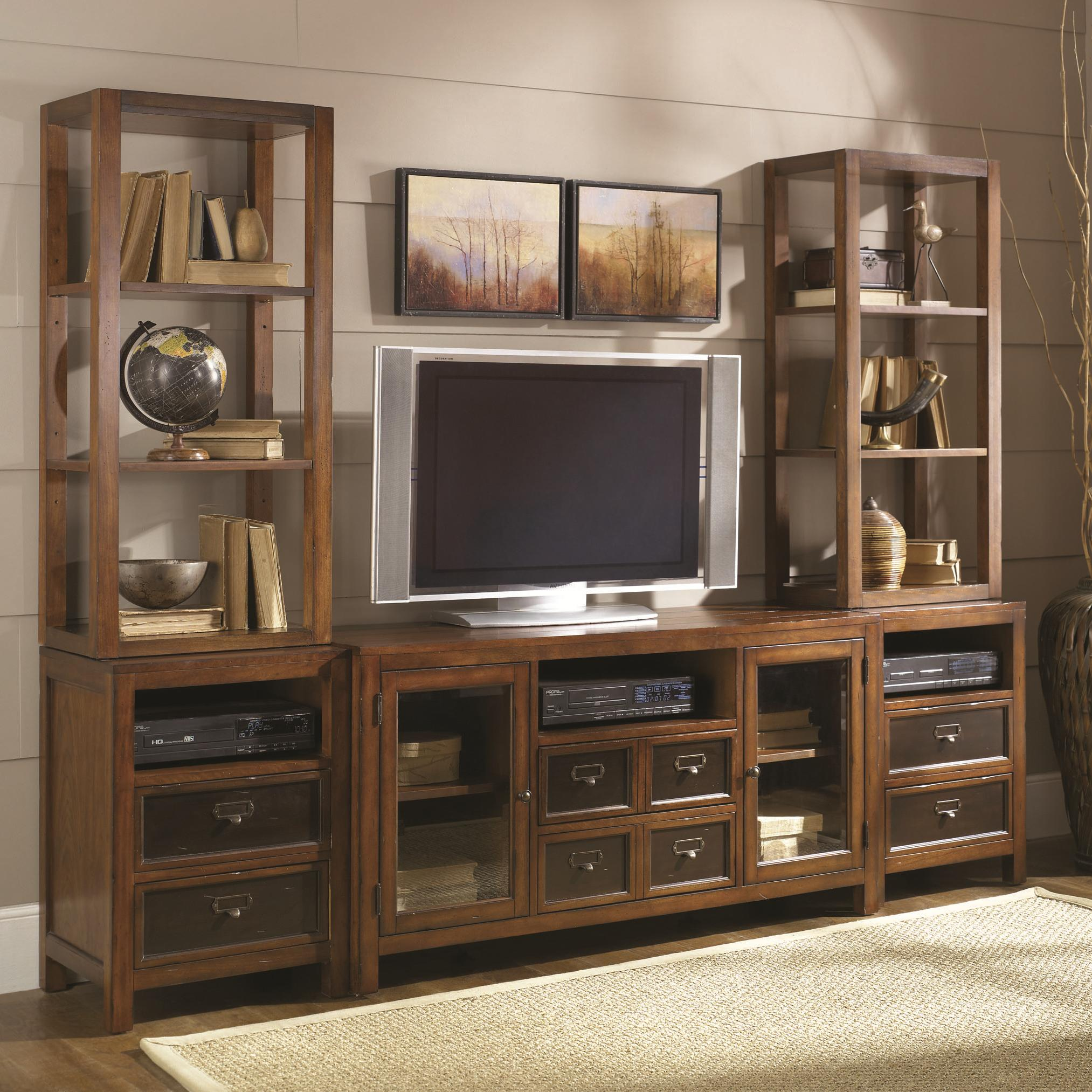 hammary mercantile six drawer two door entertainment wall unit with shelving storage display. Black Bedroom Furniture Sets. Home Design Ideas