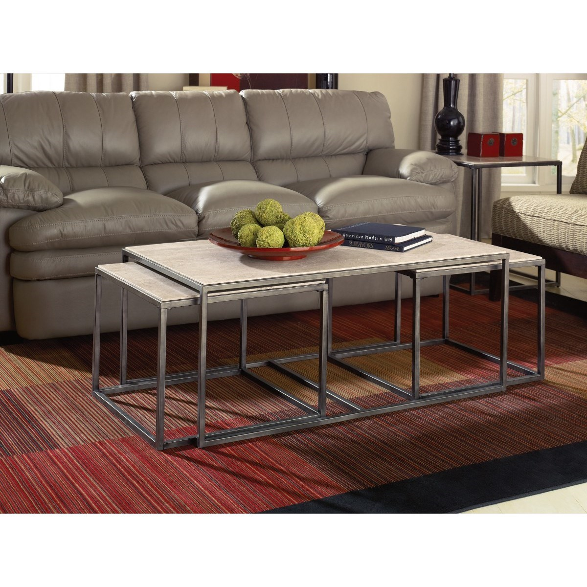 Modern basics rectangular cocktail table with bronze with for Morris home