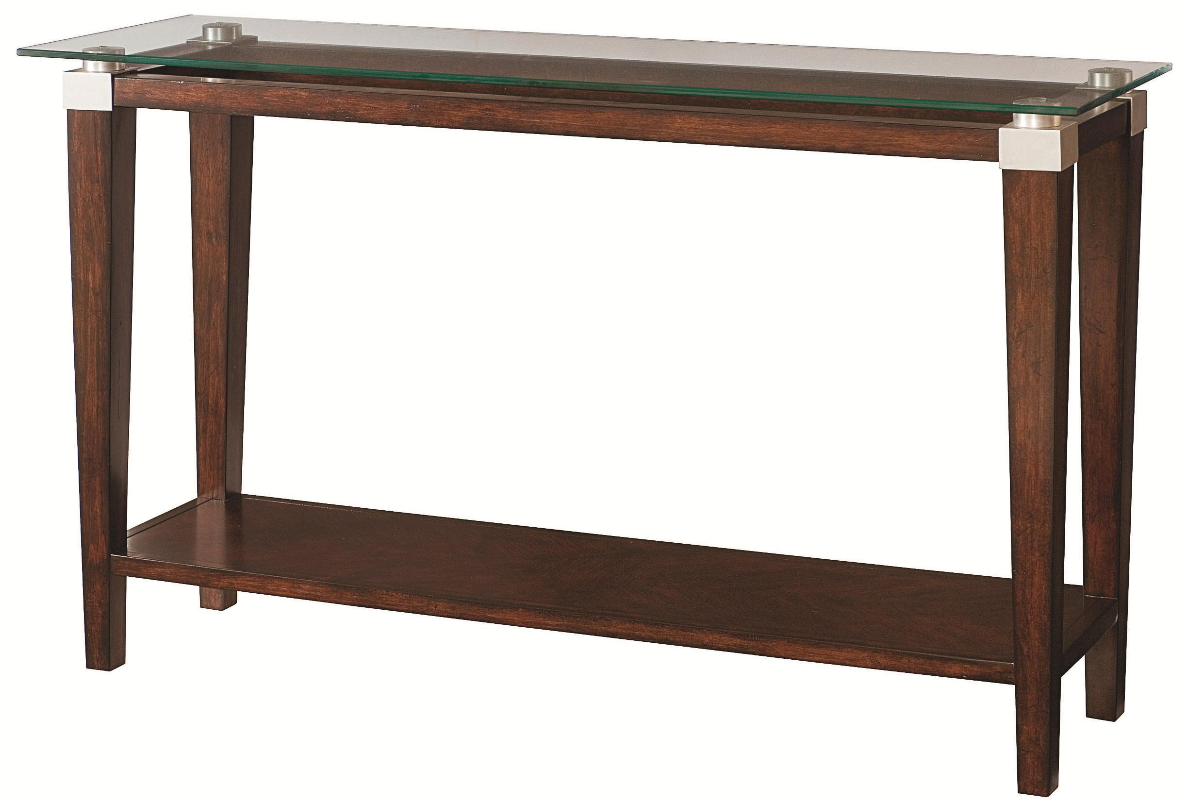 Hammary solitaire contemporary sofa table with glass top for Sofa table rules