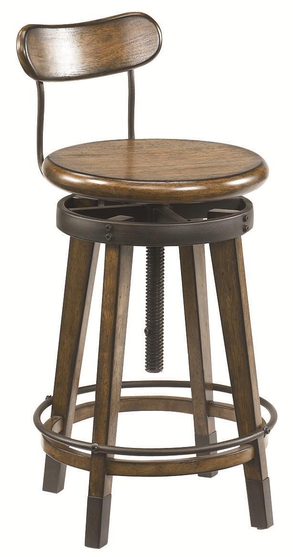 ... Oak Swivel Adjustable Stool - Jacksonville Furniture Mart - Bar Stool