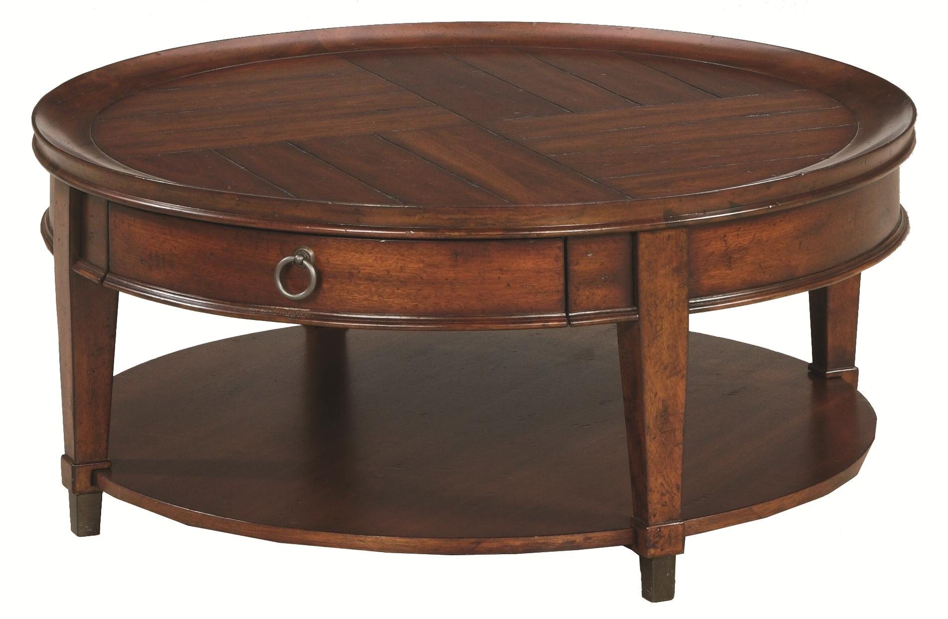 Hammary sunset valley round cocktail table wayside for Wayside furniture