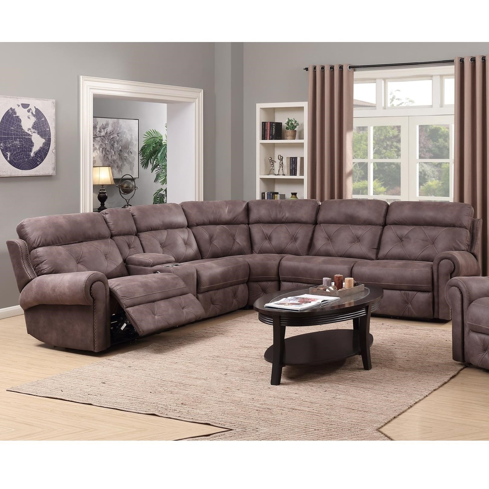 happy leather company 1378 power reclining sectional with