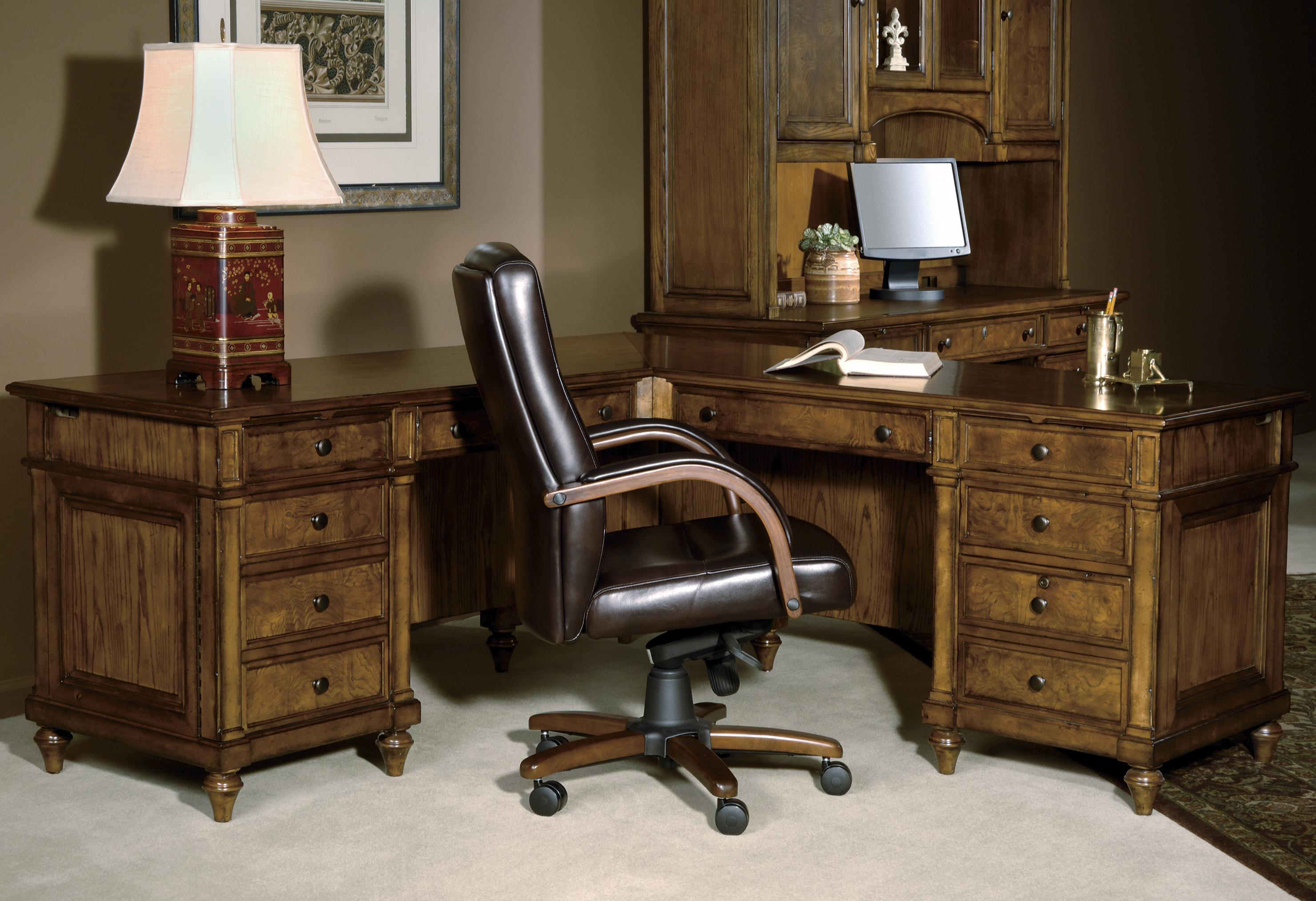 Hekman 7 9000 executive l desk olinde 39 s furniture l for S shaped office desk