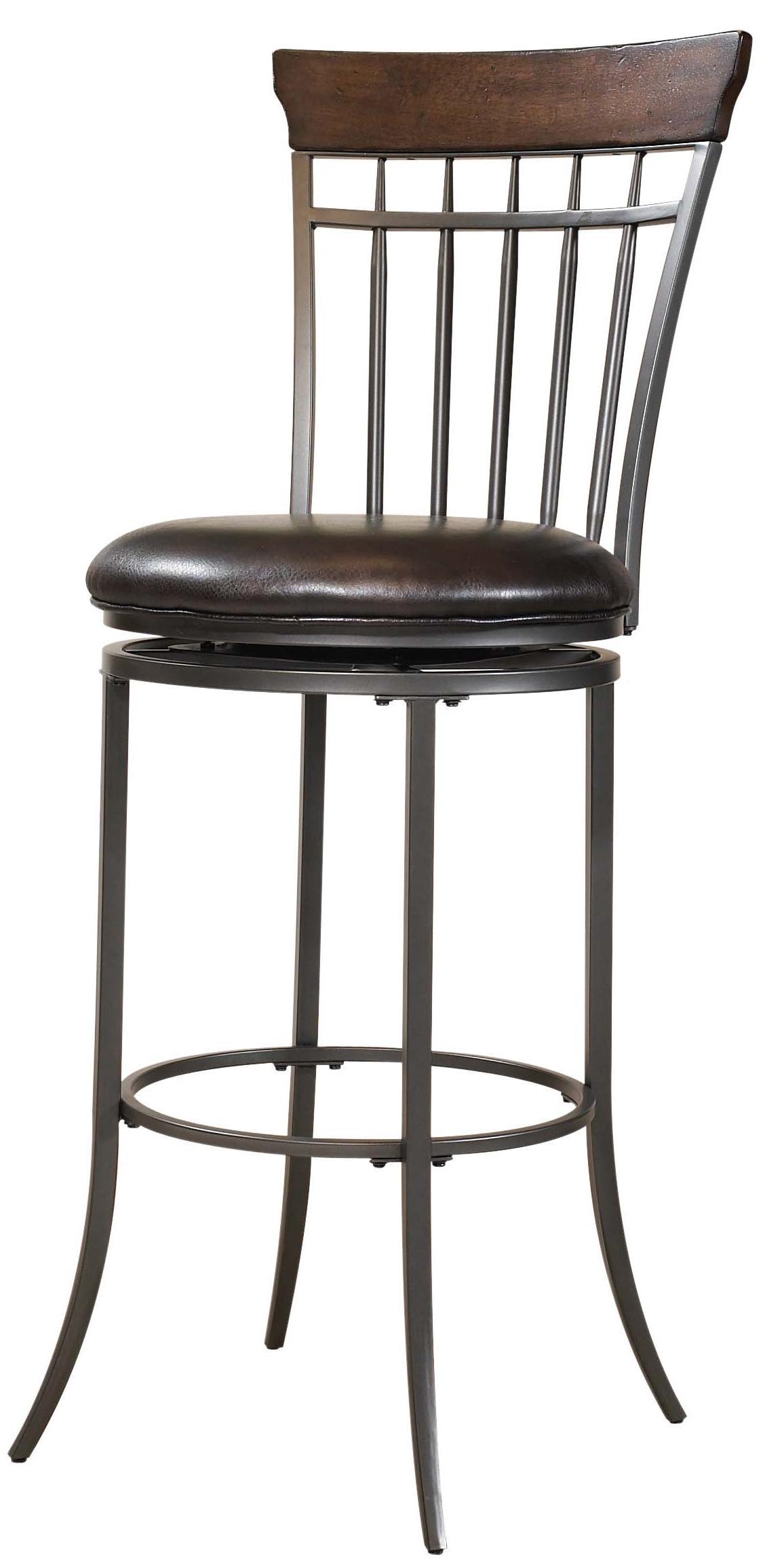 hillsdale metal stools cameron swivel vertical spindle back counter stool johnny janosik bar. Black Bedroom Furniture Sets. Home Design Ideas