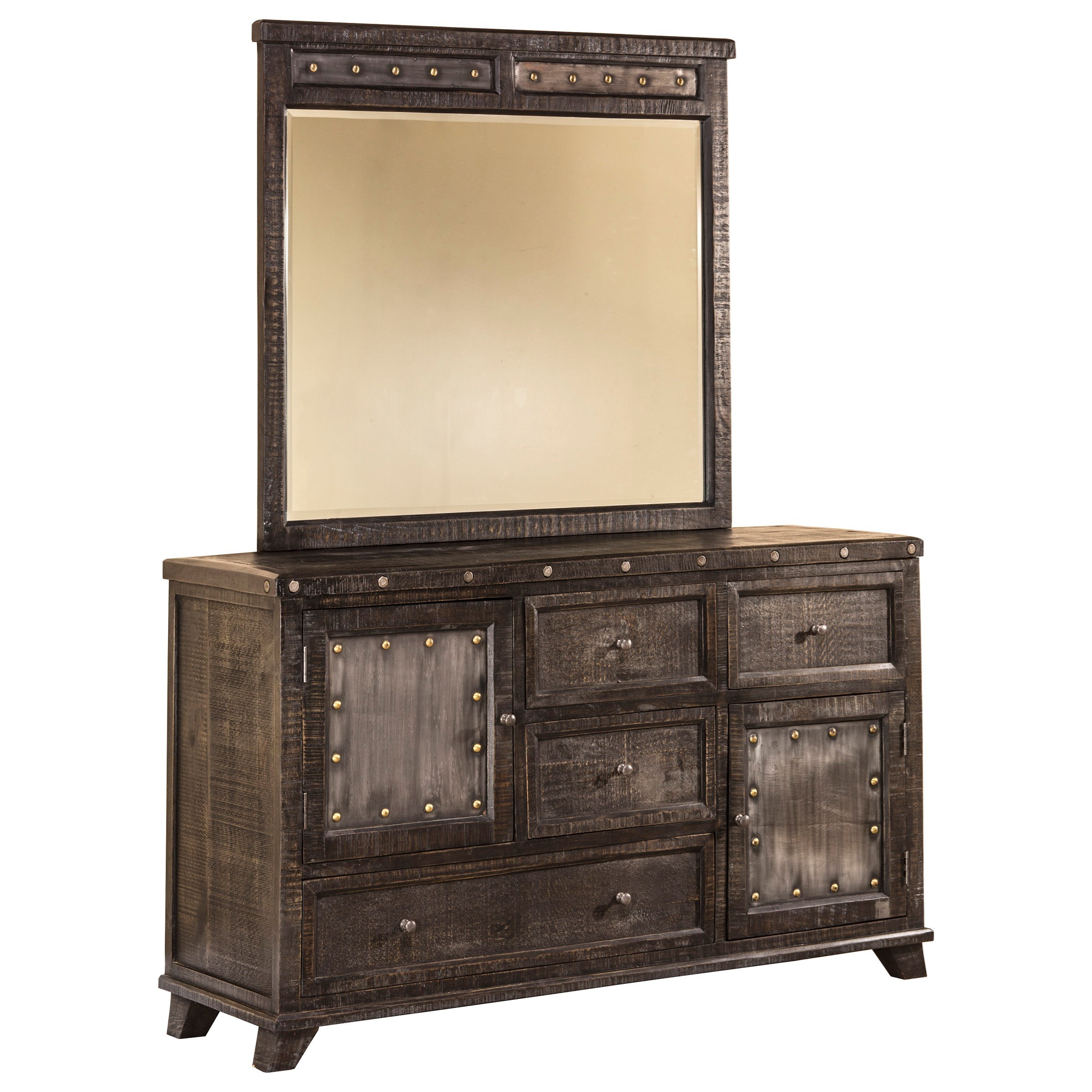 Bolt framed mirror with nailhead accent morris home dresser mirrors Morris home furniture outlet