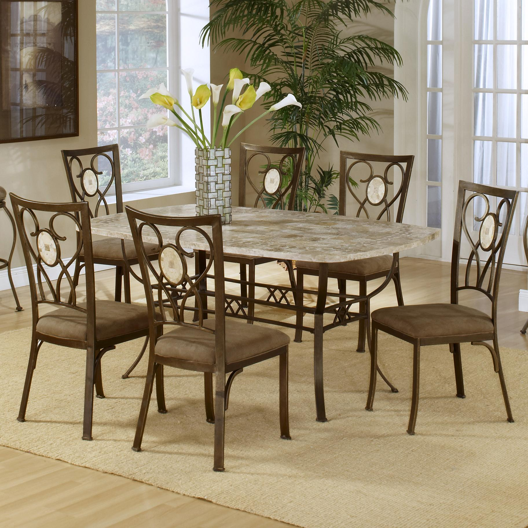 Hillsdale Brookside Seven Piece Rectangle Table And Oval Back Chair Dining Se