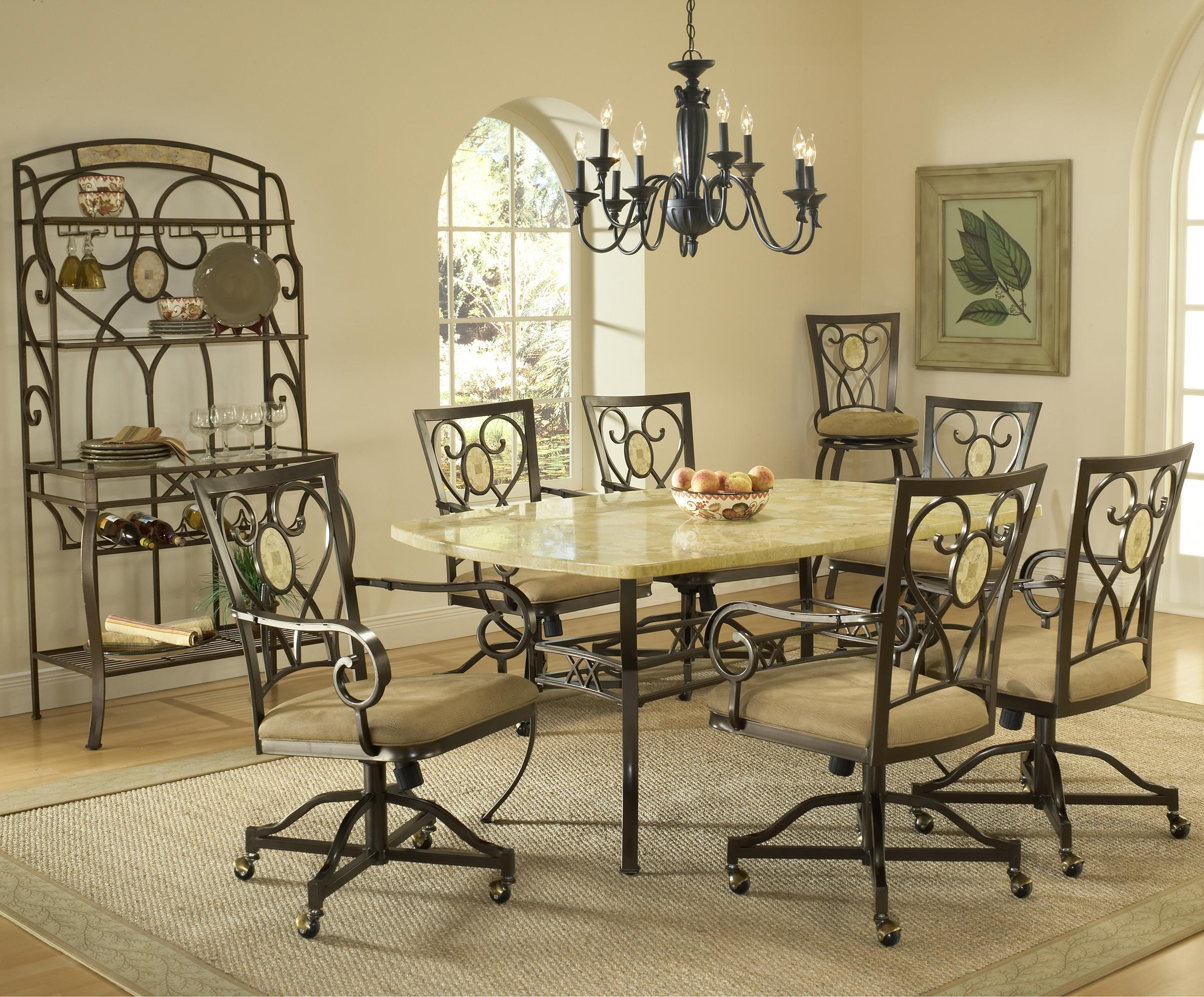 Hillsdale Brookside Seven Piece Rectangle Dining Set With Caster Chairs Gil
