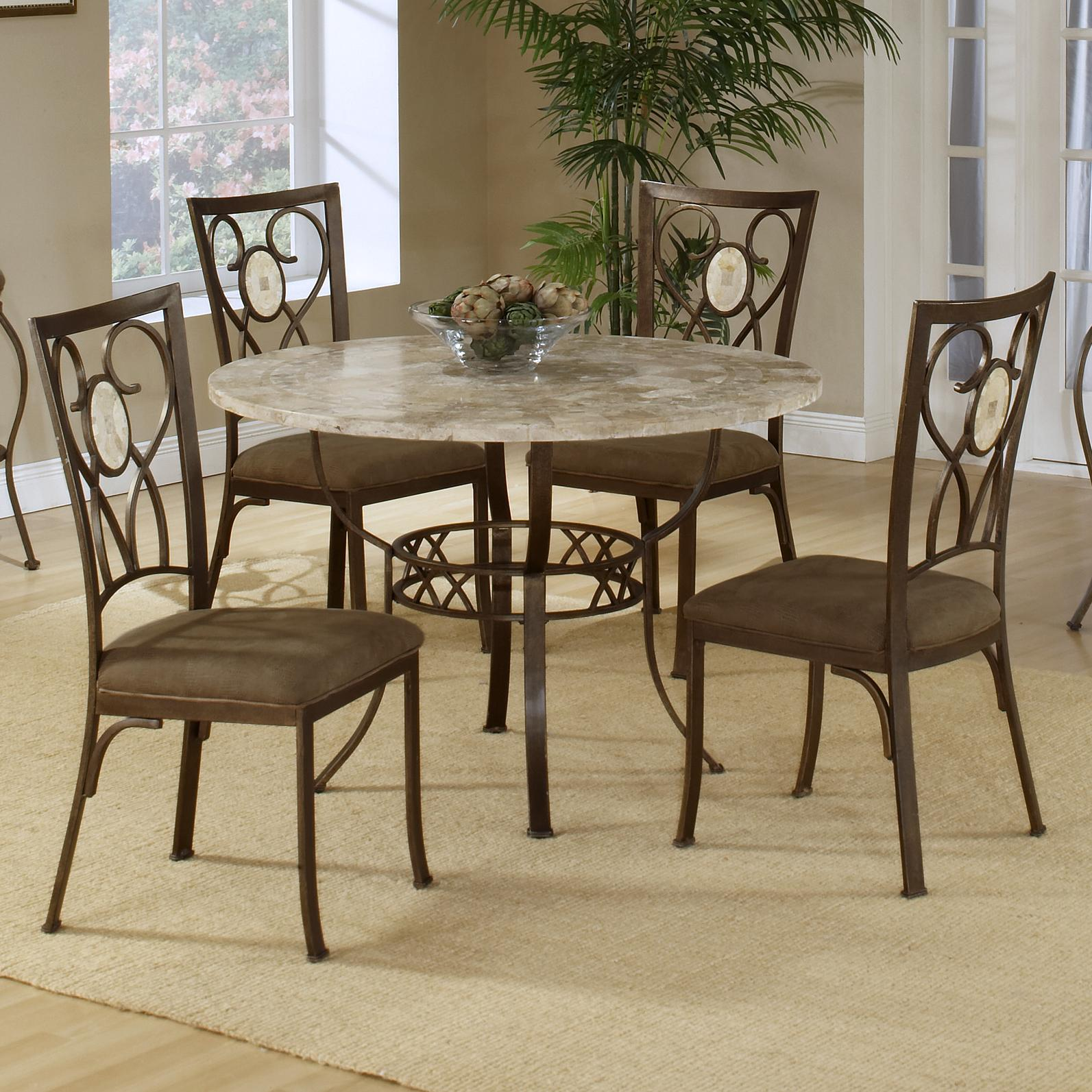 Hillsdale Brookside Five Piece Round Dining Set With Oval Back Chairs Olind