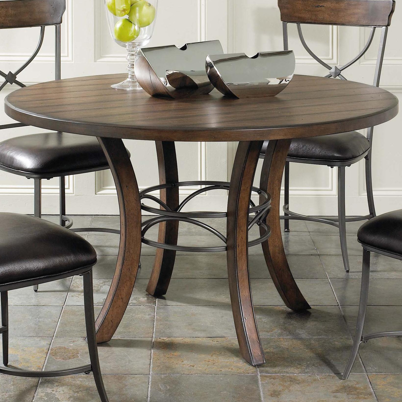 Hillsdale cameron round wood dining table with metal acent for Wooden kitchen table