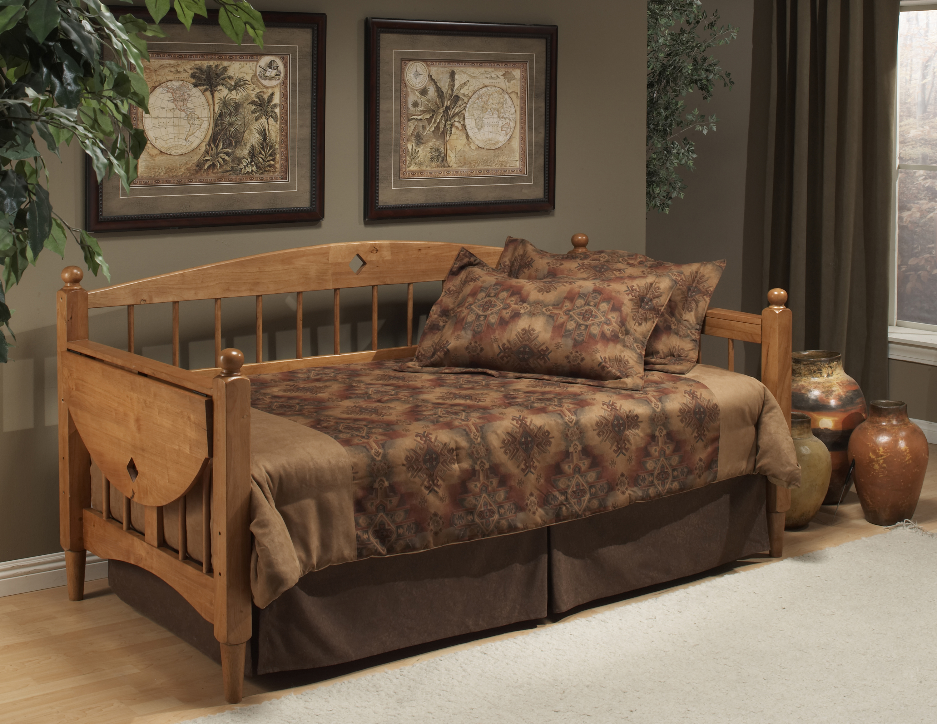 Hillsdale Daybeds Wooden Daybed with Trundle and Drop Leaf