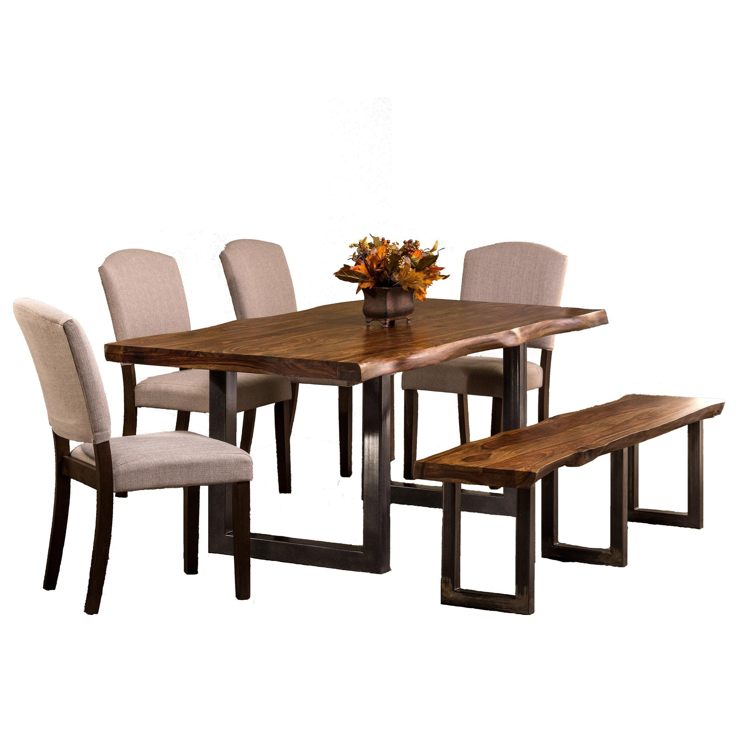 Hillsdale emerson 5674dtbhc 6 piece rectangle dining set with dining bench and chairs dunk - Rectangular dining table for 6 ...