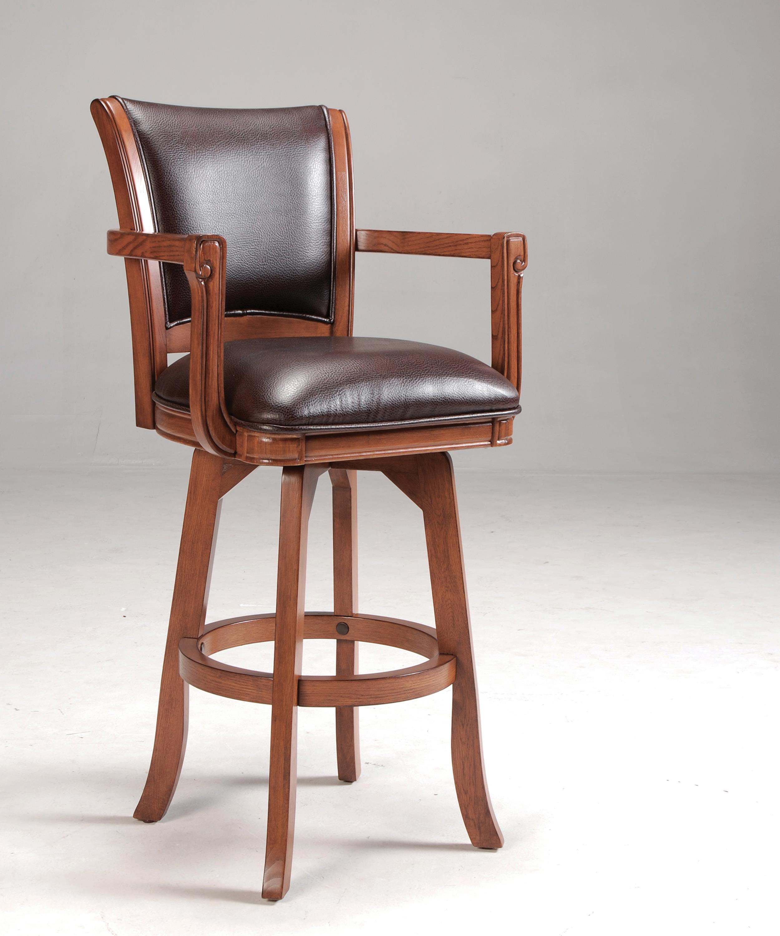 park view counter stool with arms leather upholstered seat by