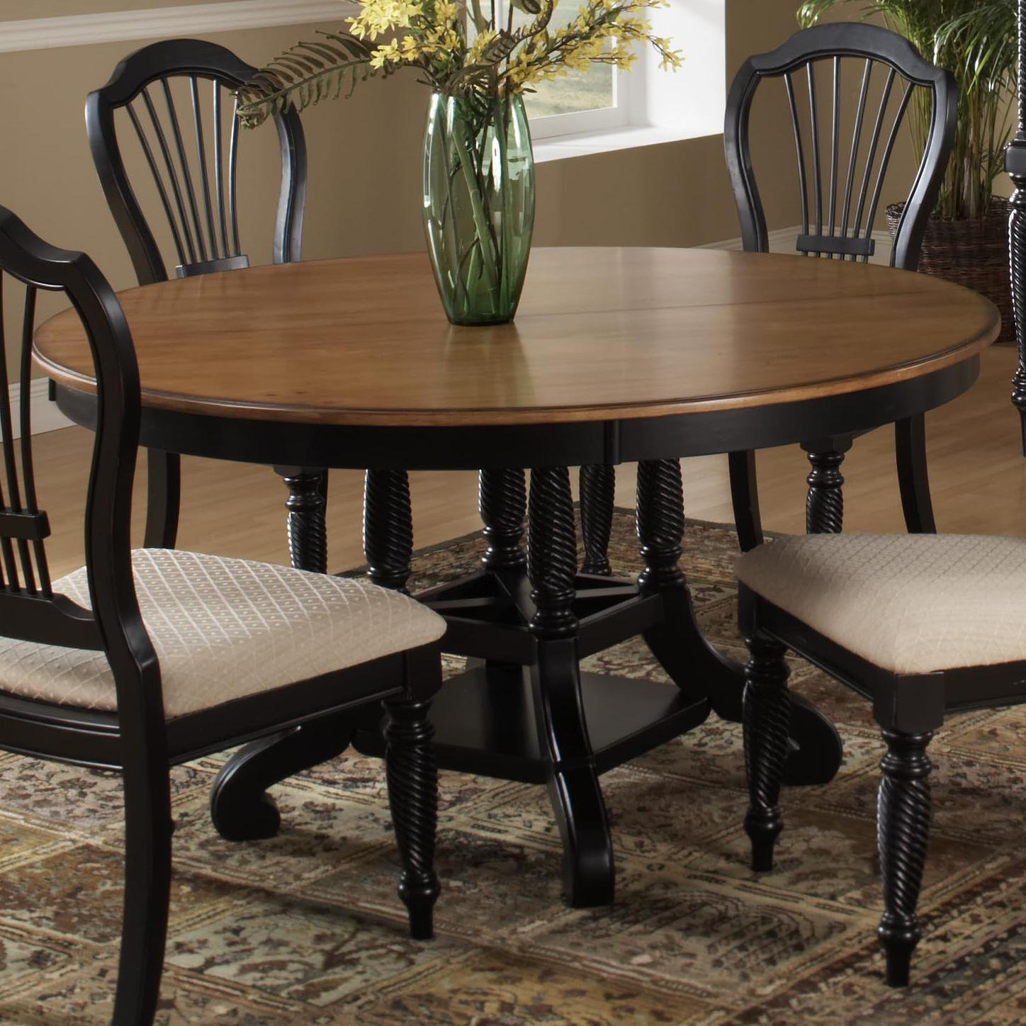 hillsdale wilshire round two tone leaf dining table wayside furniture dining tables. Black Bedroom Furniture Sets. Home Design Ideas
