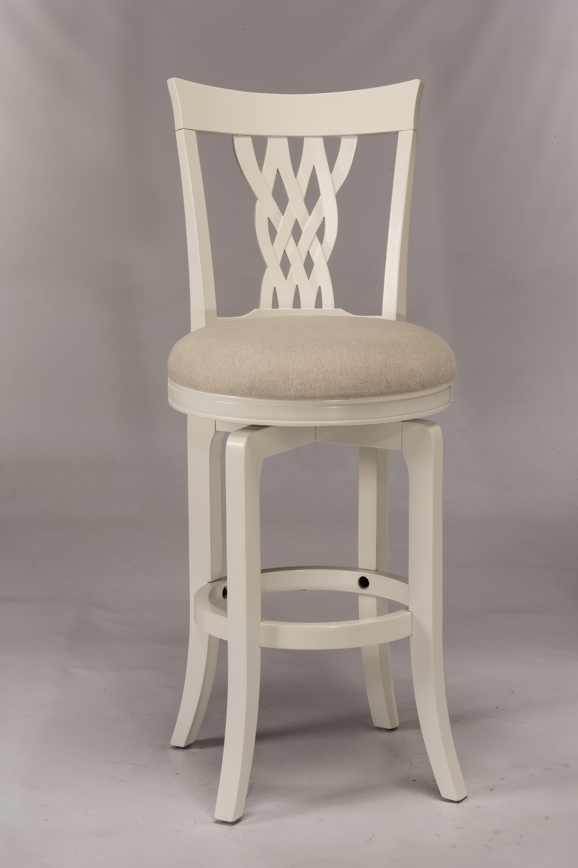 hillsdale wood stools white swiveling counter stool with braided wooden back olinde 39 s. Black Bedroom Furniture Sets. Home Design Ideas