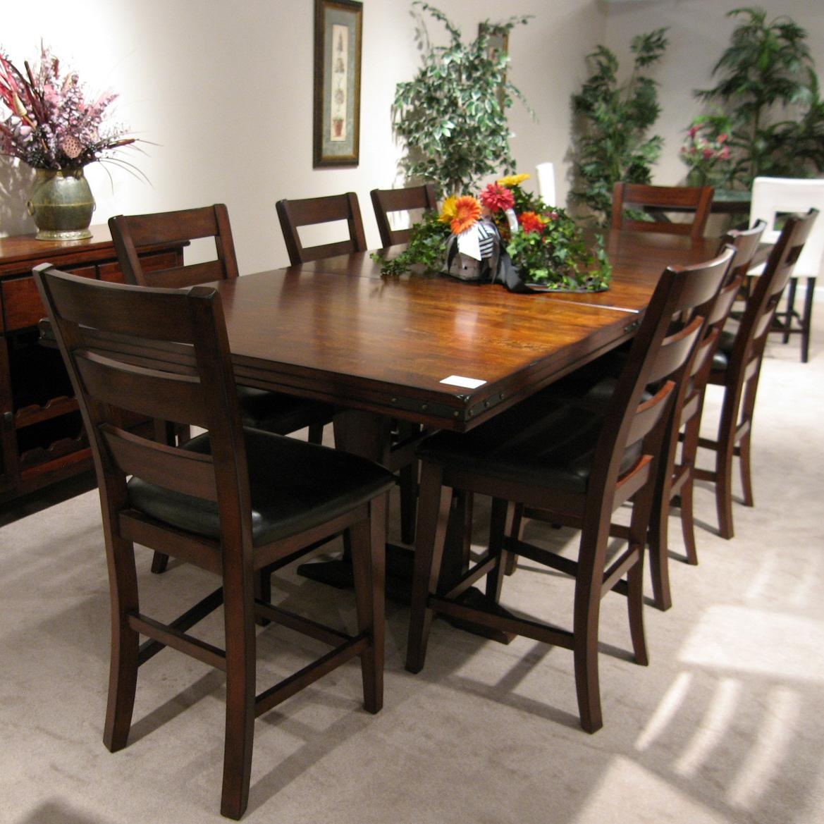 Coventry Double Trestle Pub Table with 2 Removable 18 Inch
