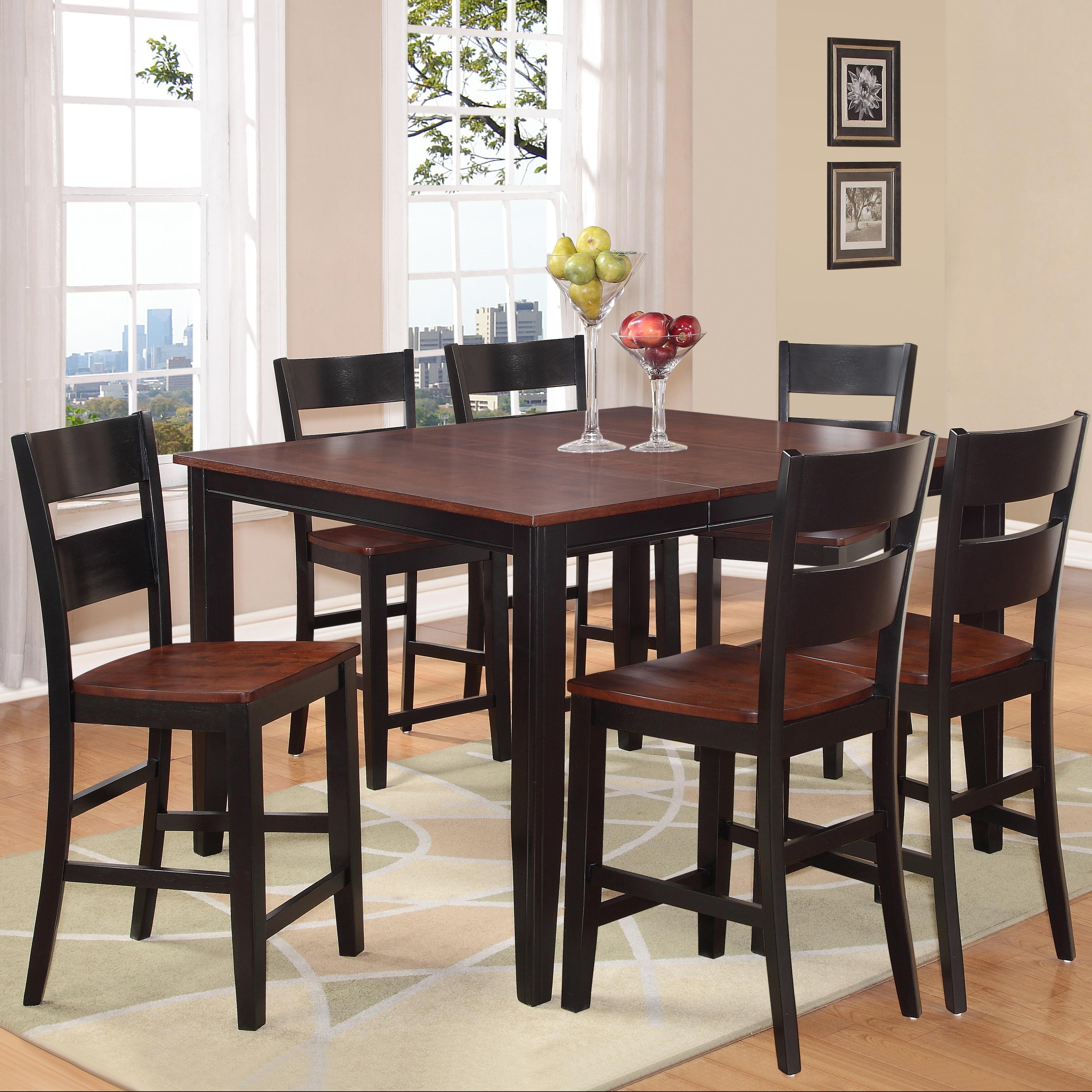 holland house 8202 7 piece counter height dining set with. Black Bedroom Furniture Sets. Home Design Ideas
