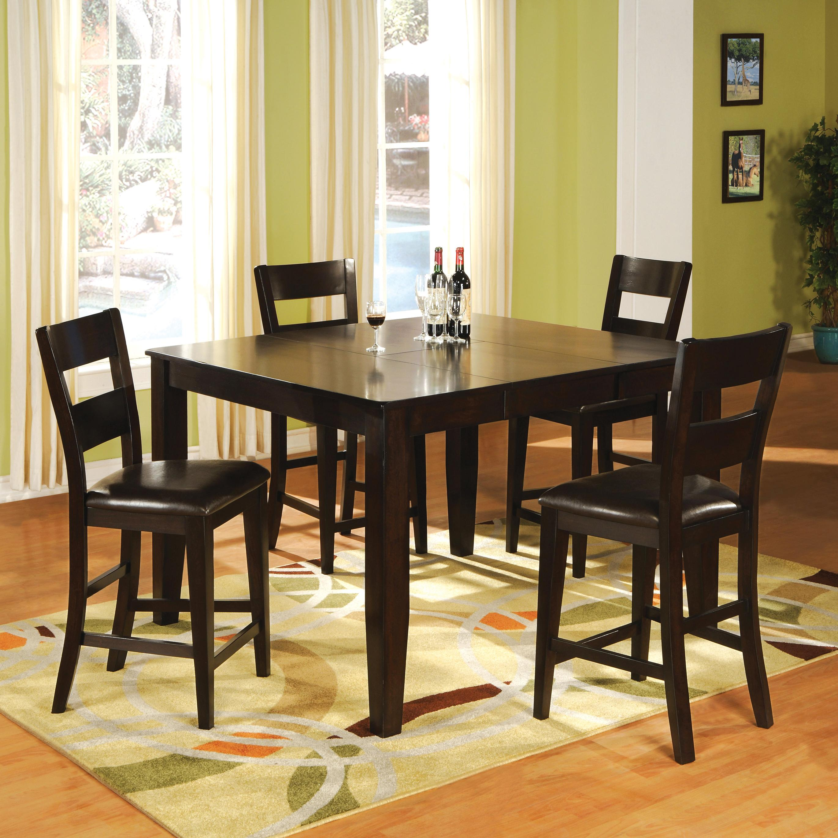holland house bend 5 piece square top table and ladder back chair pub dining set miskelly. Black Bedroom Furniture Sets. Home Design Ideas