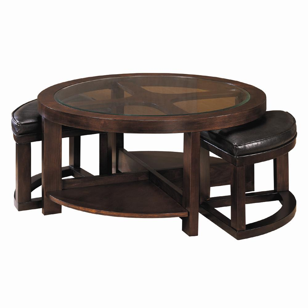 Homelegance 3219 round cocktail table with 2 ottomans for Cocktail table with 4 benches