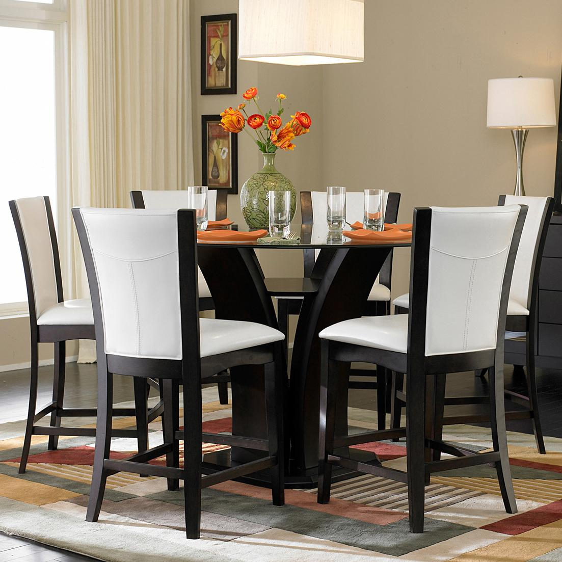 Homelegance 710 7 piece counter height glass top dining for Best dining room table height