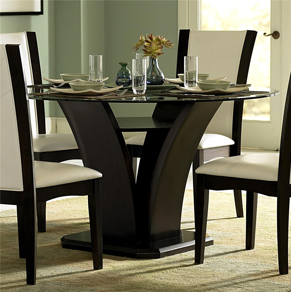 homelegance 710 round glass trestle dining table del sol furniture dining room table. Black Bedroom Furniture Sets. Home Design Ideas