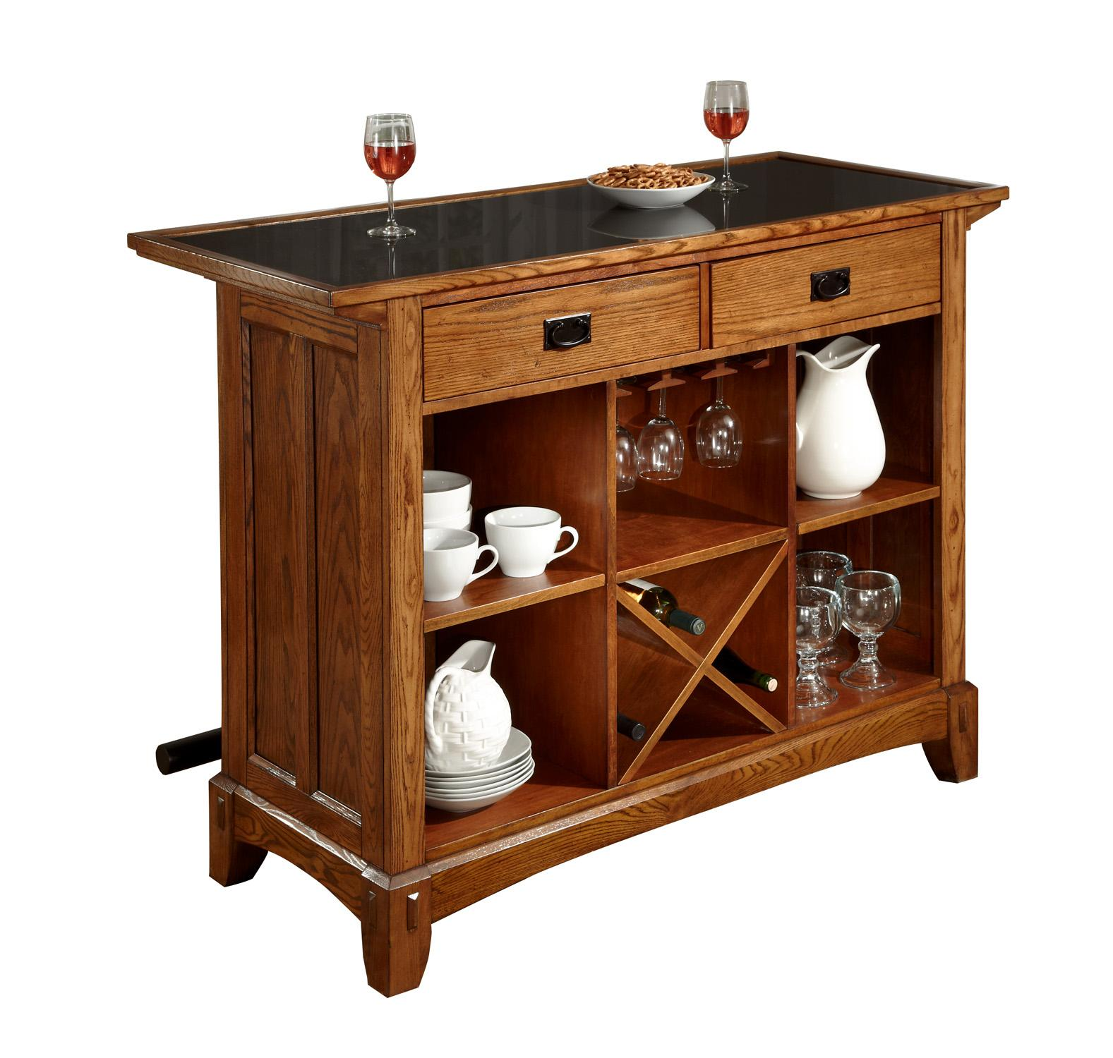 Mission style home bar