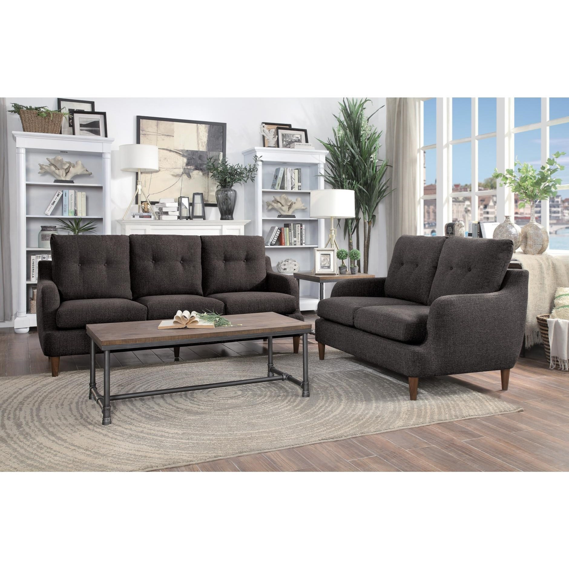 homelegance cagle transitional love seat value city On cagle furniture