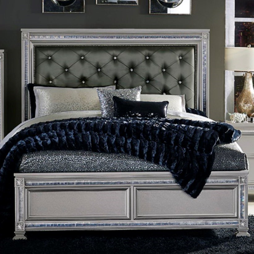 homelegance 1958 glam king headboard and footboard bed with intricate inlays darvin furniture. Black Bedroom Furniture Sets. Home Design Ideas