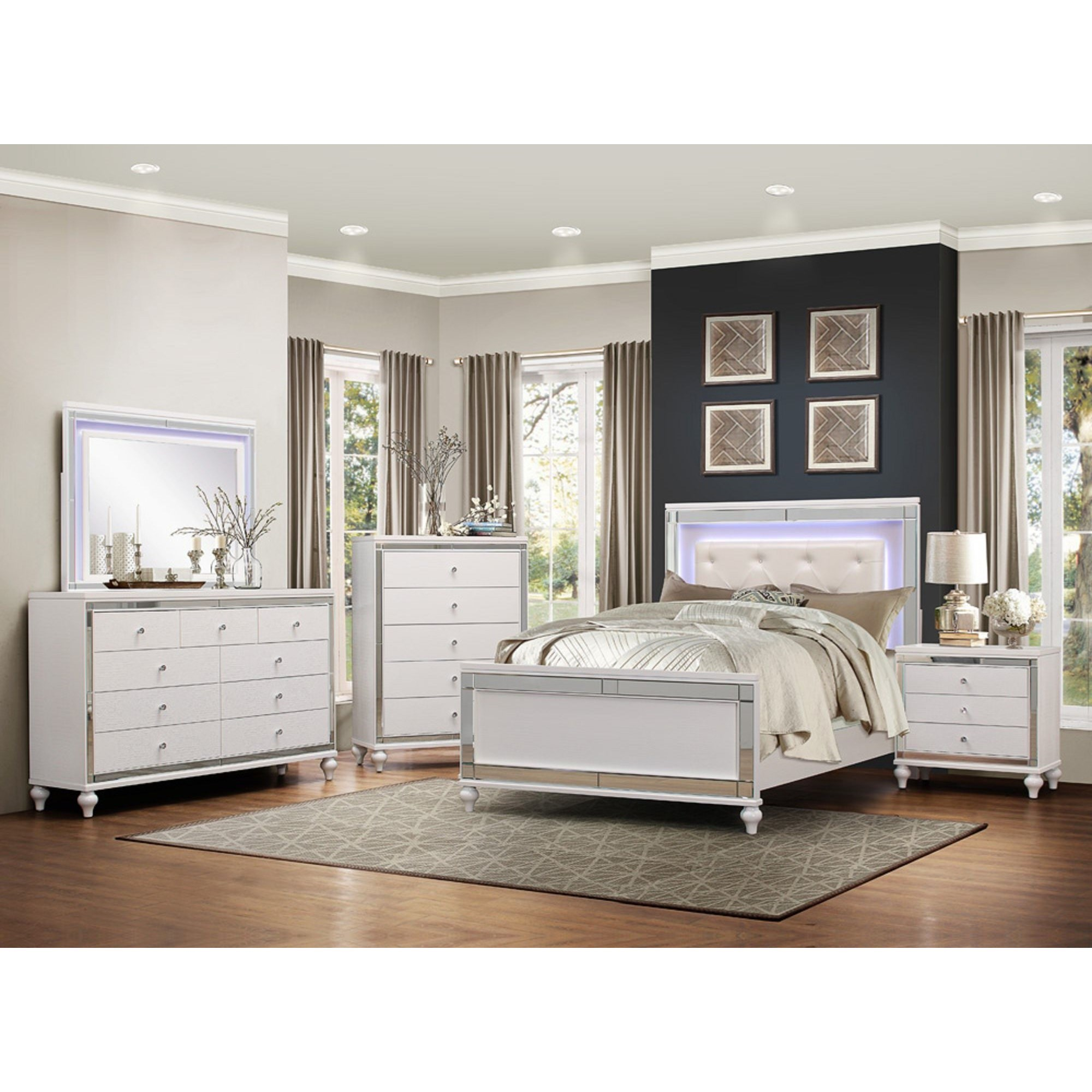 homelegance alonza glam cal king led lit bedroom group darvin furniture bedroom groups. Black Bedroom Furniture Sets. Home Design Ideas