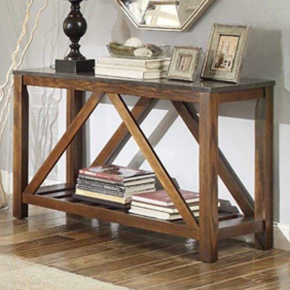 Homelegance Ashby Mission Sofa Table With Bluestone Marble