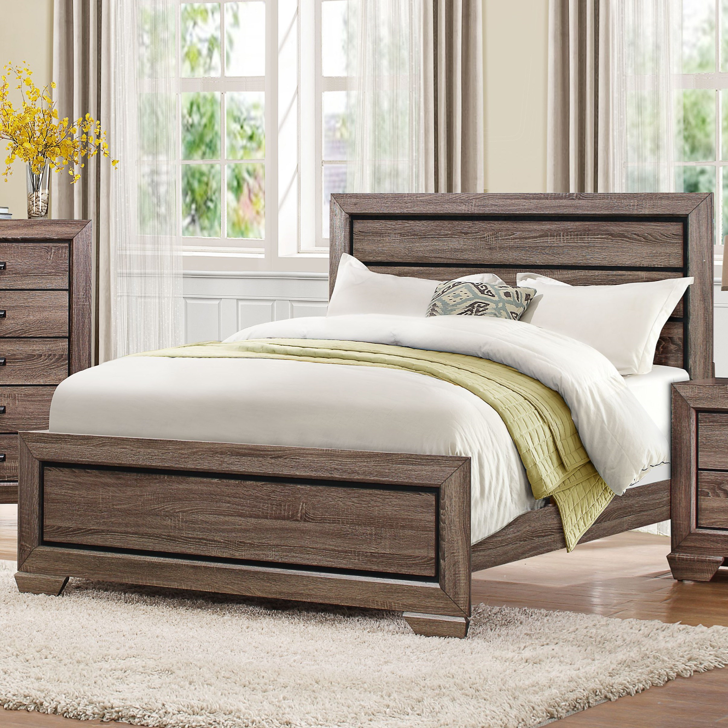 homelegance beechnut contemporary king headboard and footboard with dark under paneling. Black Bedroom Furniture Sets. Home Design Ideas