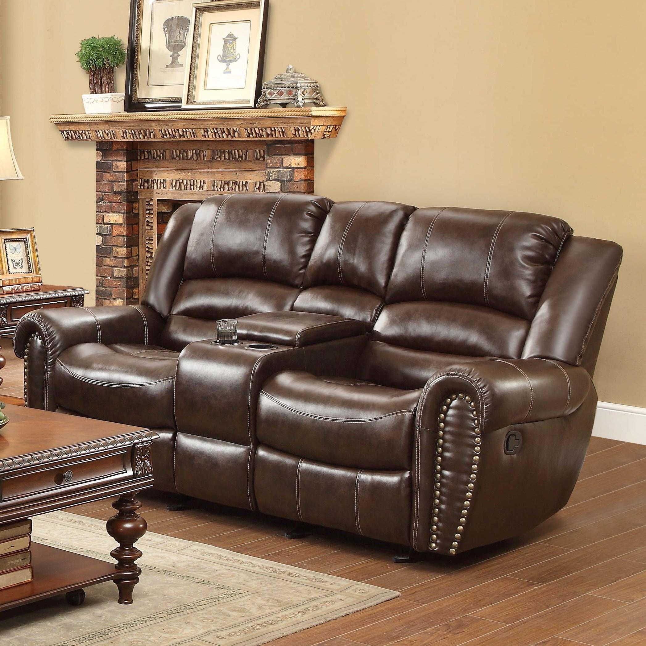 Homelegance Center Hill 9668brw 2 Traditional Reclining Loveseat With Console And Nailhead Trim