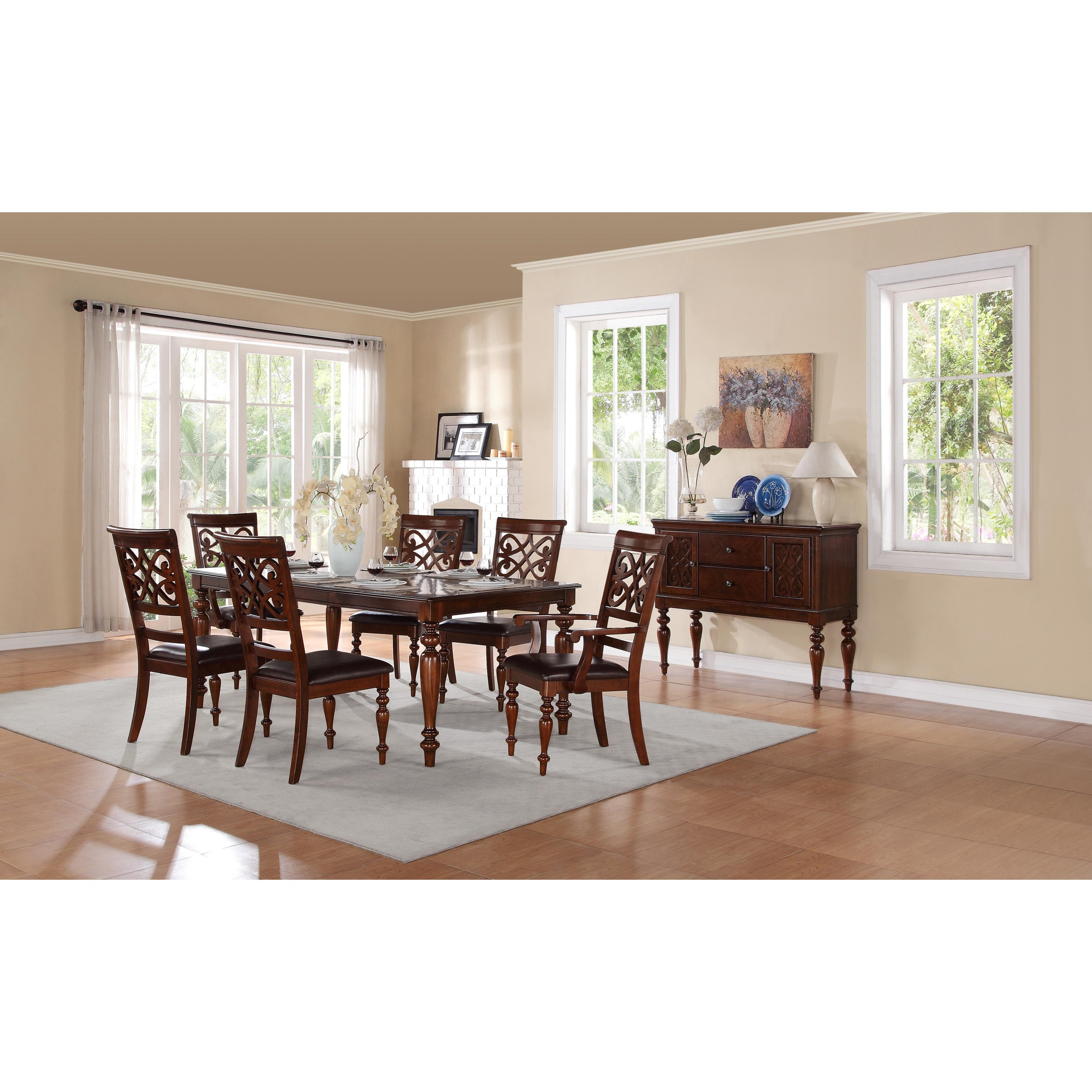 Homelegance creswell 5056 78 traditional formal dining for Formal wood dining table