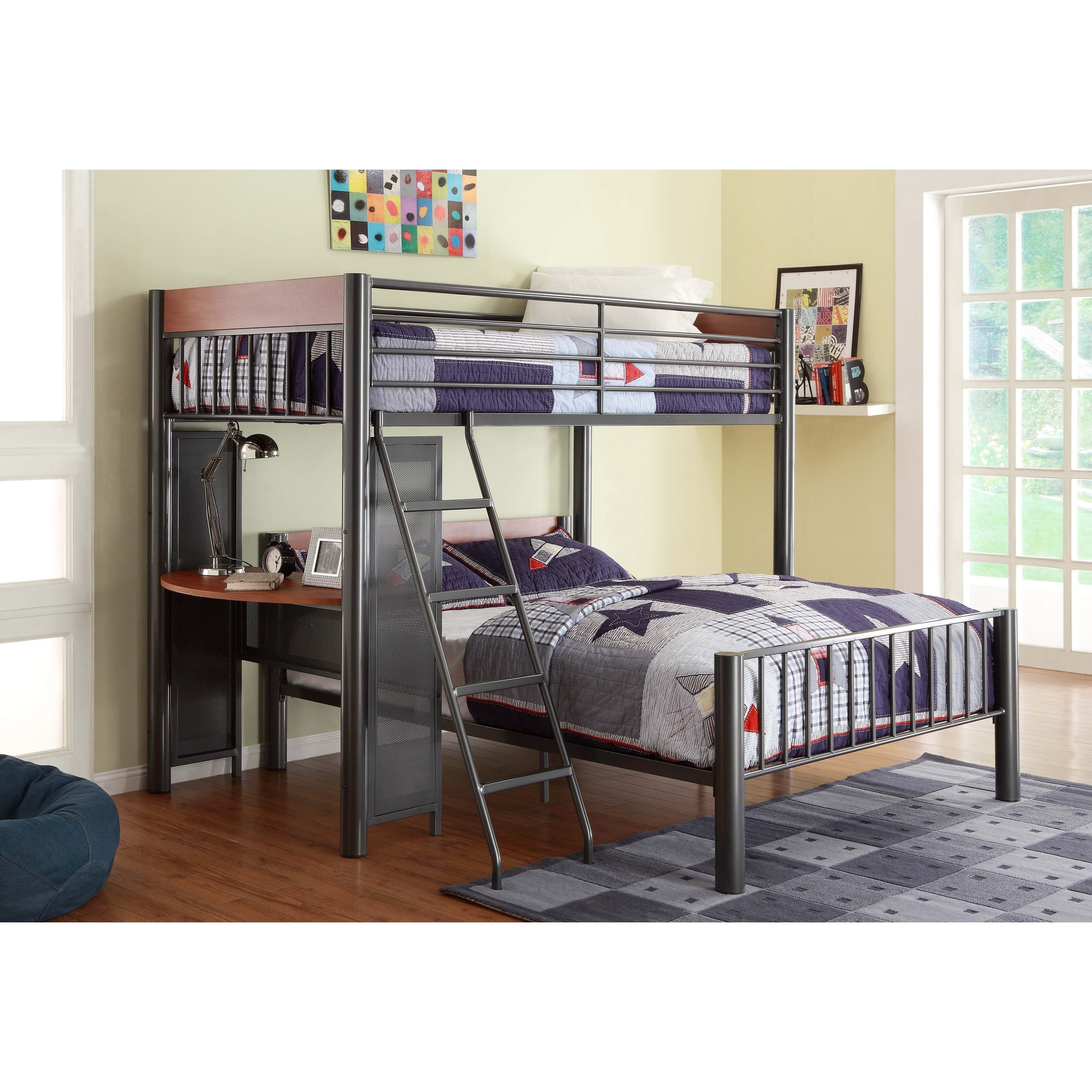 homelegance division contemporary twin over full loft bed. Black Bedroom Furniture Sets. Home Design Ideas
