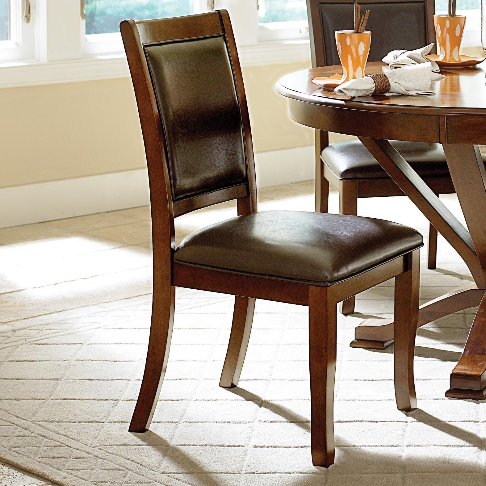 Homelegance helena transitional dining side chair with for Upholstered dining room side chairs