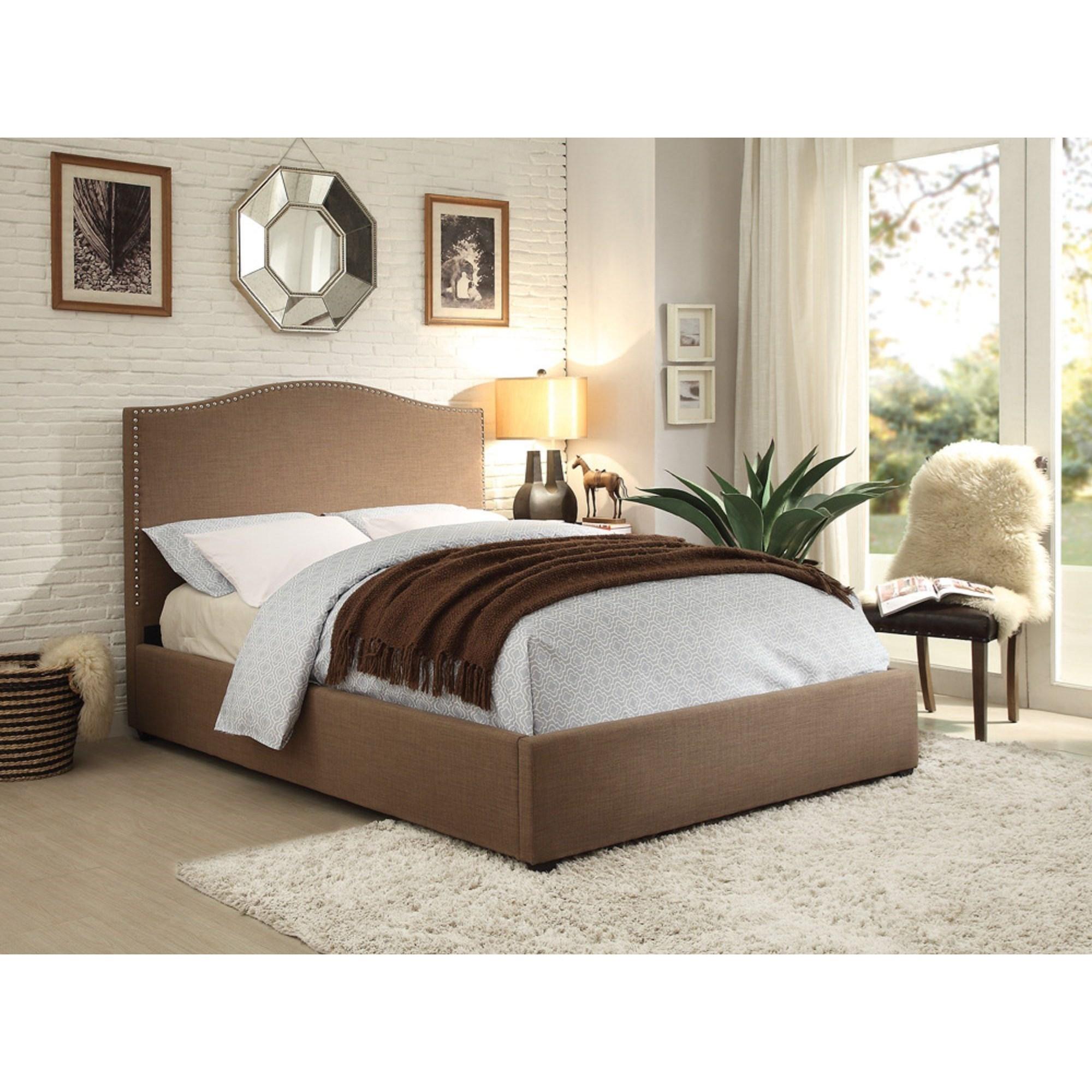 Homelegance kase transitional upholstered full bed with for Upholstered full bed