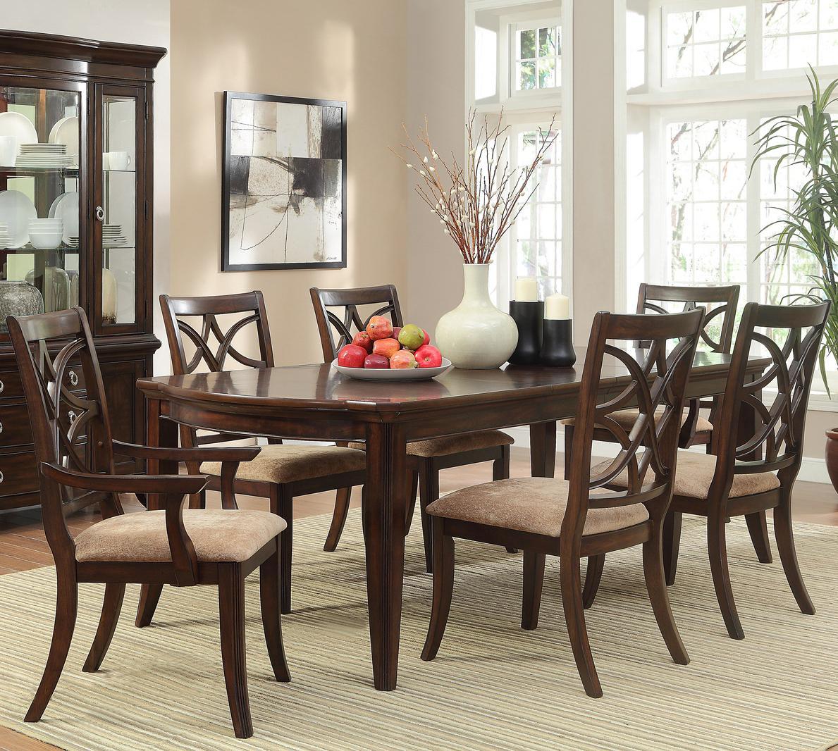 Homelegance keegan 7 piece dining set with rectangular for Hudsons furniture