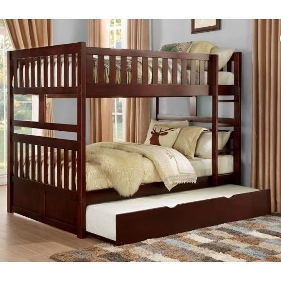 homelegance rowe full over full bunk bed with twin trundle unit del sol furniture bunk beds. Black Bedroom Furniture Sets. Home Design Ideas