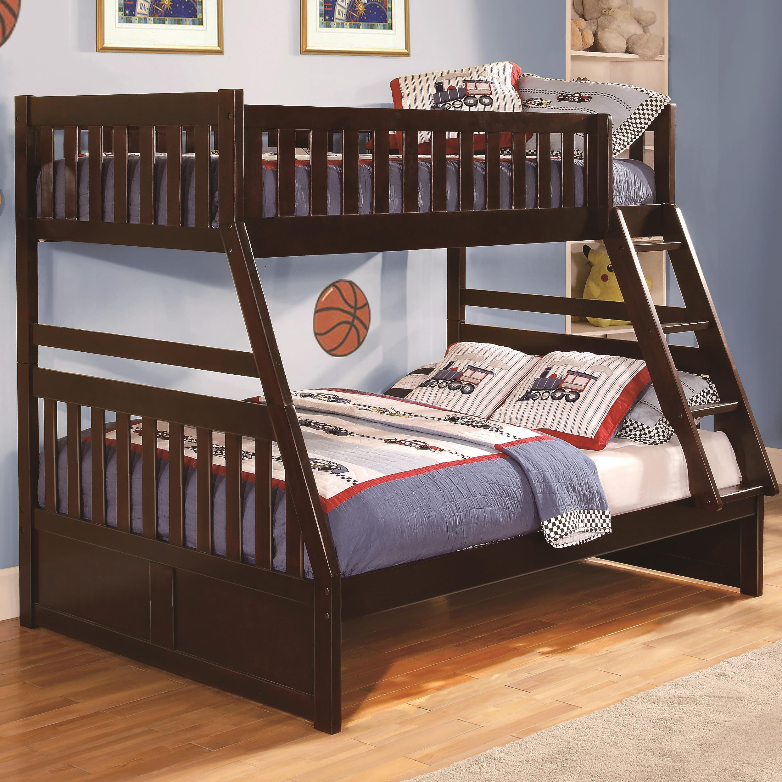 homelegance rowe twin over full bunk bed with slats boulevard home furnishings bunk beds. Black Bedroom Furniture Sets. Home Design Ideas